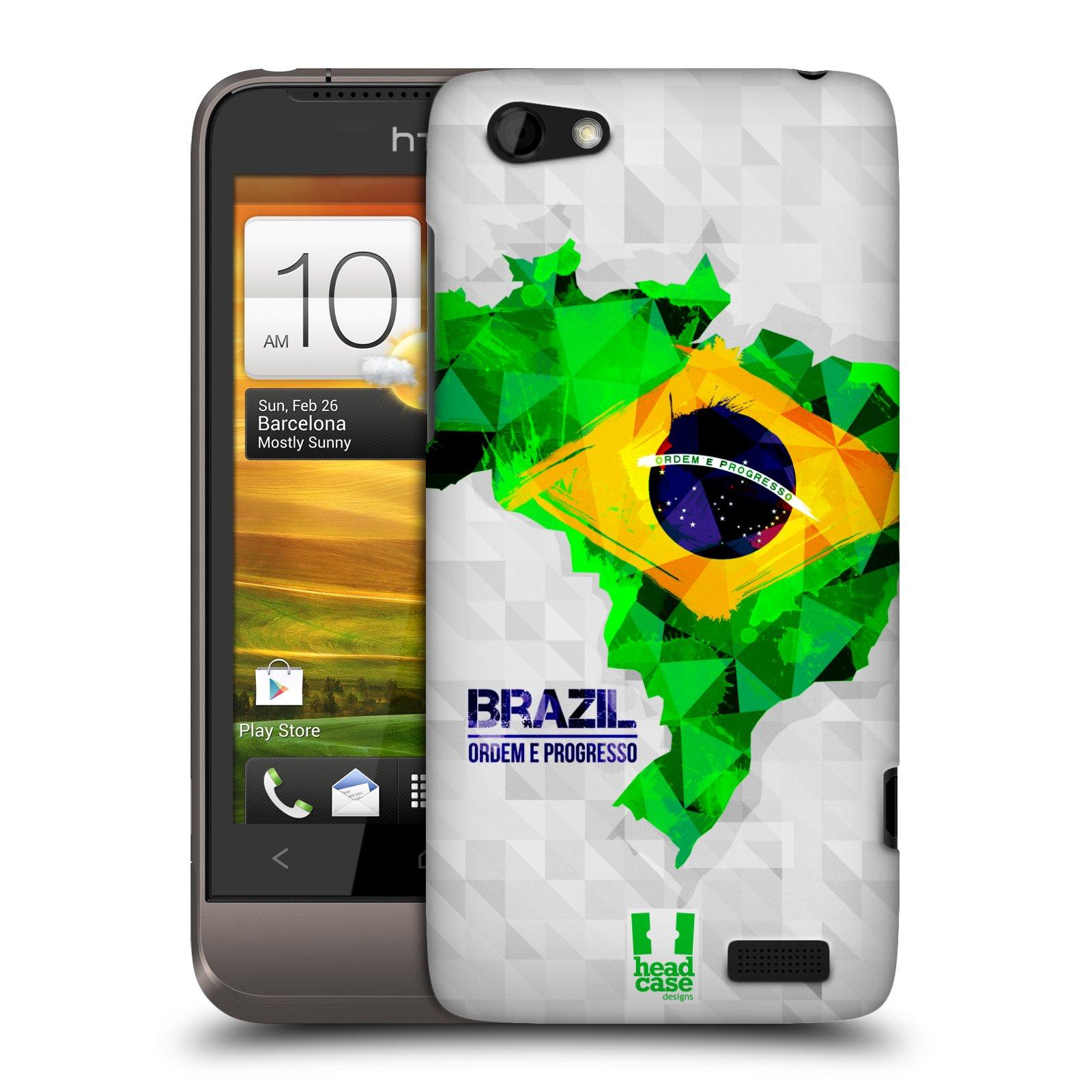 Plastové pouzdro na mobil HTC ONE V HEAD CASE GEOMAPA BRAZÍLIE (Kryt či obal na mobilní telefon HTC ONE V)