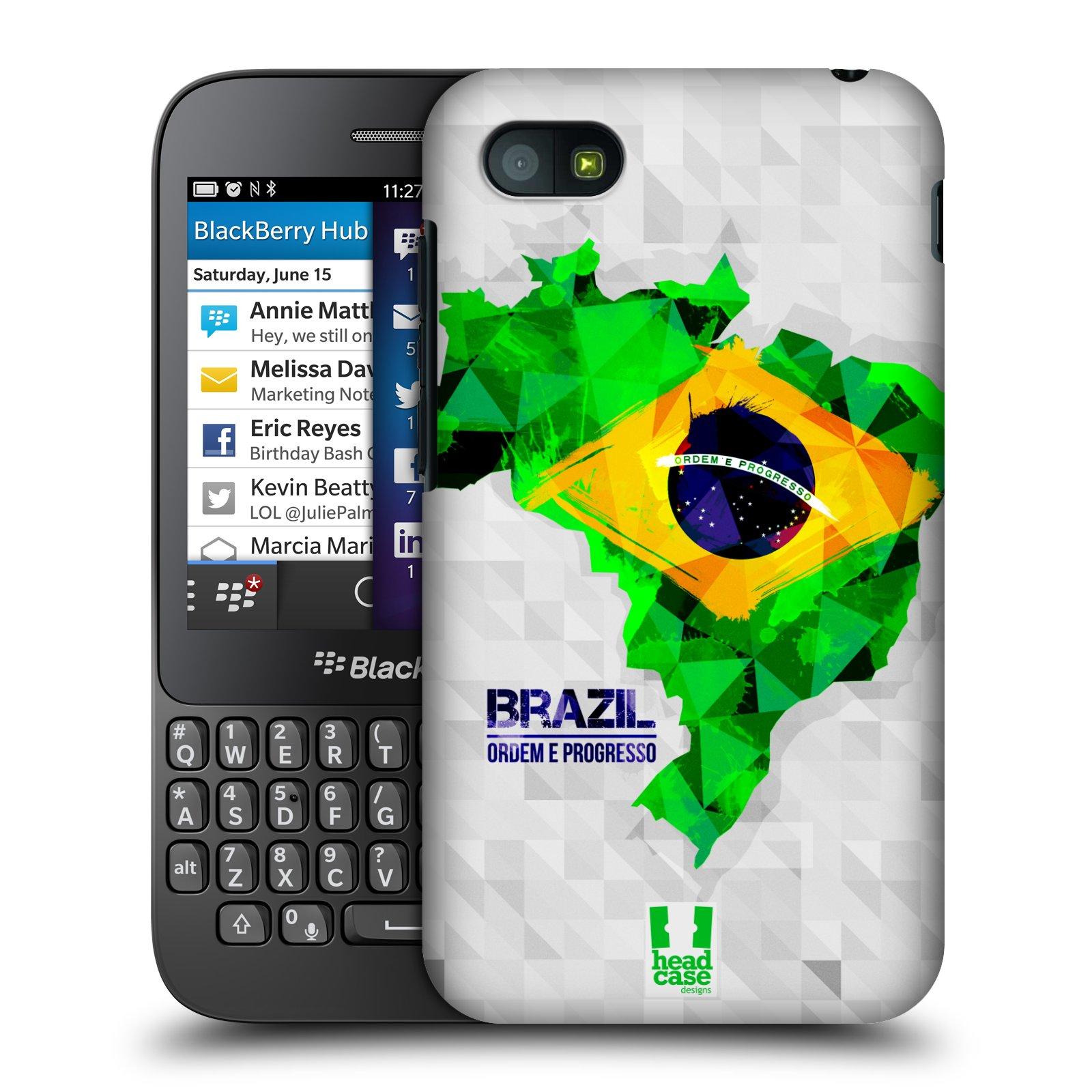 Plastové pouzdro na mobil Blackberry Q5 HEAD CASE GEOMAPA BRAZÍLIE (Kryt či obal na mobilní telefon Blackberry Q5)