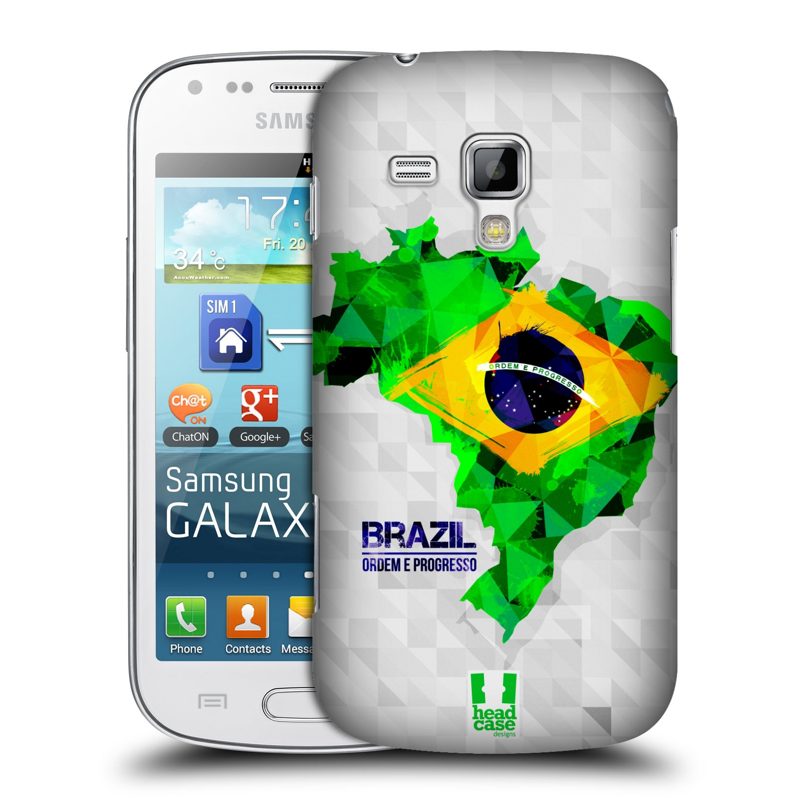 Plastové pouzdro na mobil Samsung Galaxy Trend Plus HEAD CASE GEOMAPA BRAZÍLIE (Kryt či obal na mobilní telefon Samsung Galaxy Trend Plus GT-S7580)