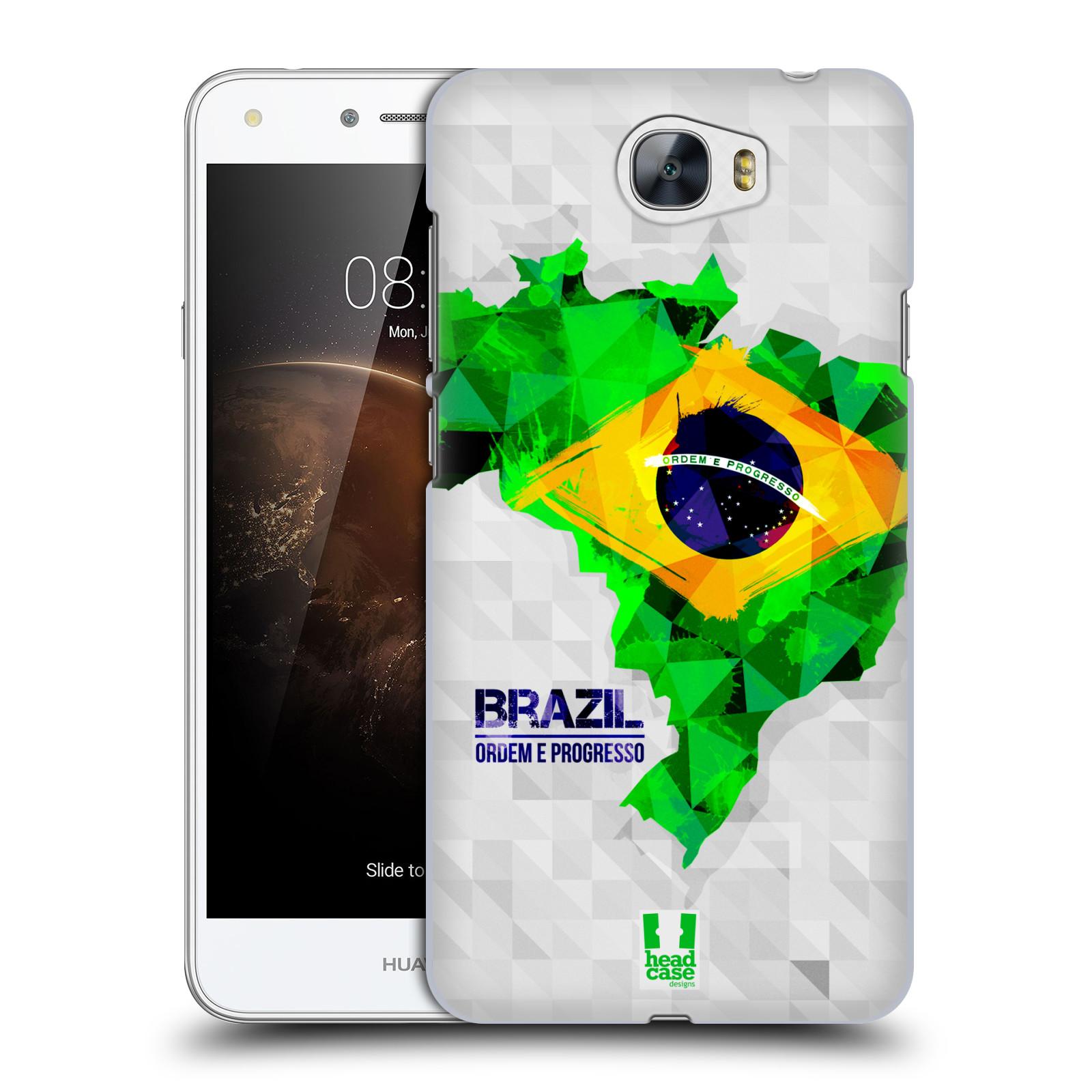 Plastové pouzdro na mobil Huawei Y6 II Compact HEAD CASE GEOMAPA BRAZÍLIE