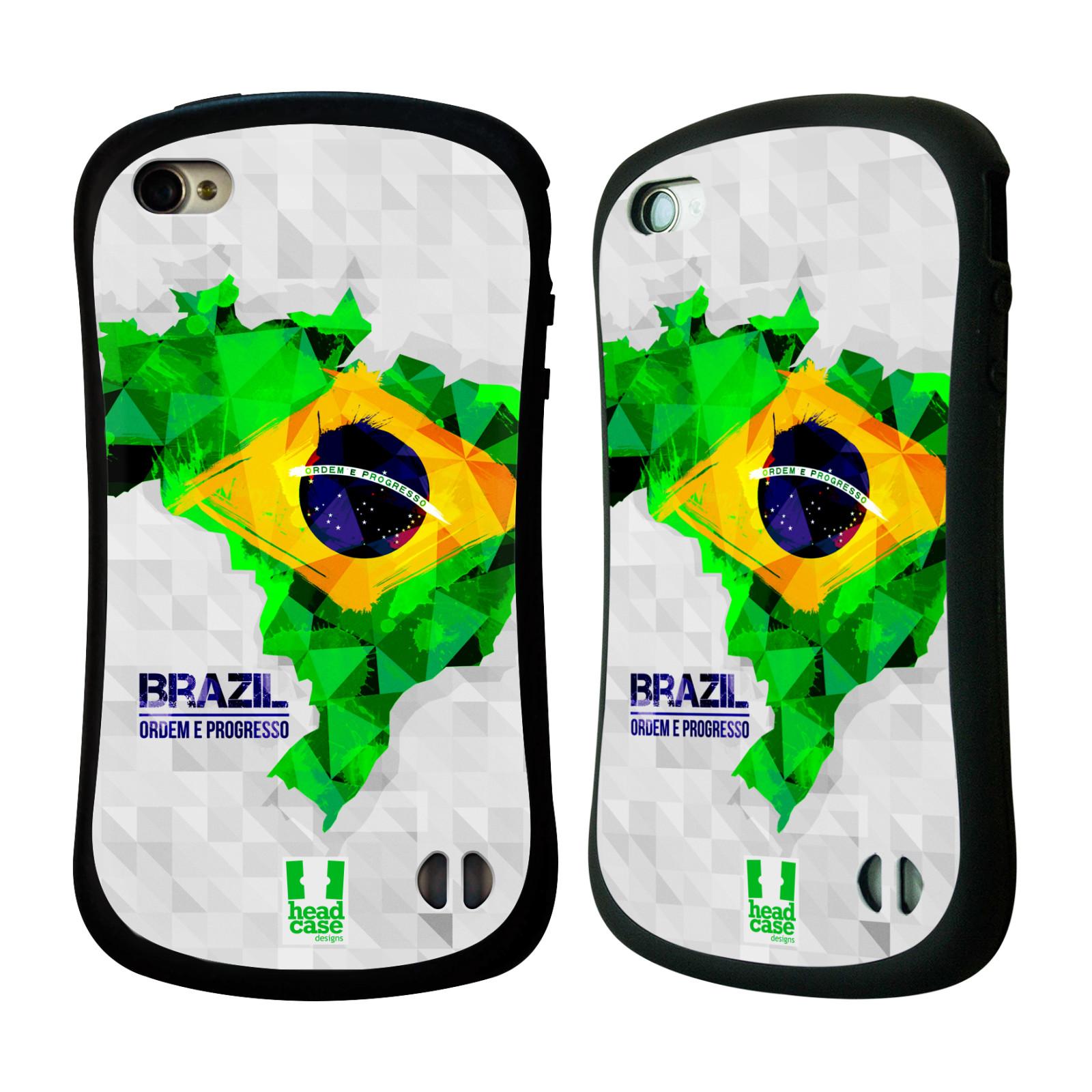 Nárazuvzdorné pouzdro na mobil Apple iPhone 4 a 4S HEAD CASE GEOMAPA BRAZÍLIE (Odolný nárazuvzdorný silikonový kryt či obal na mobilní telefon Apple iPhone 4 a 4S)
