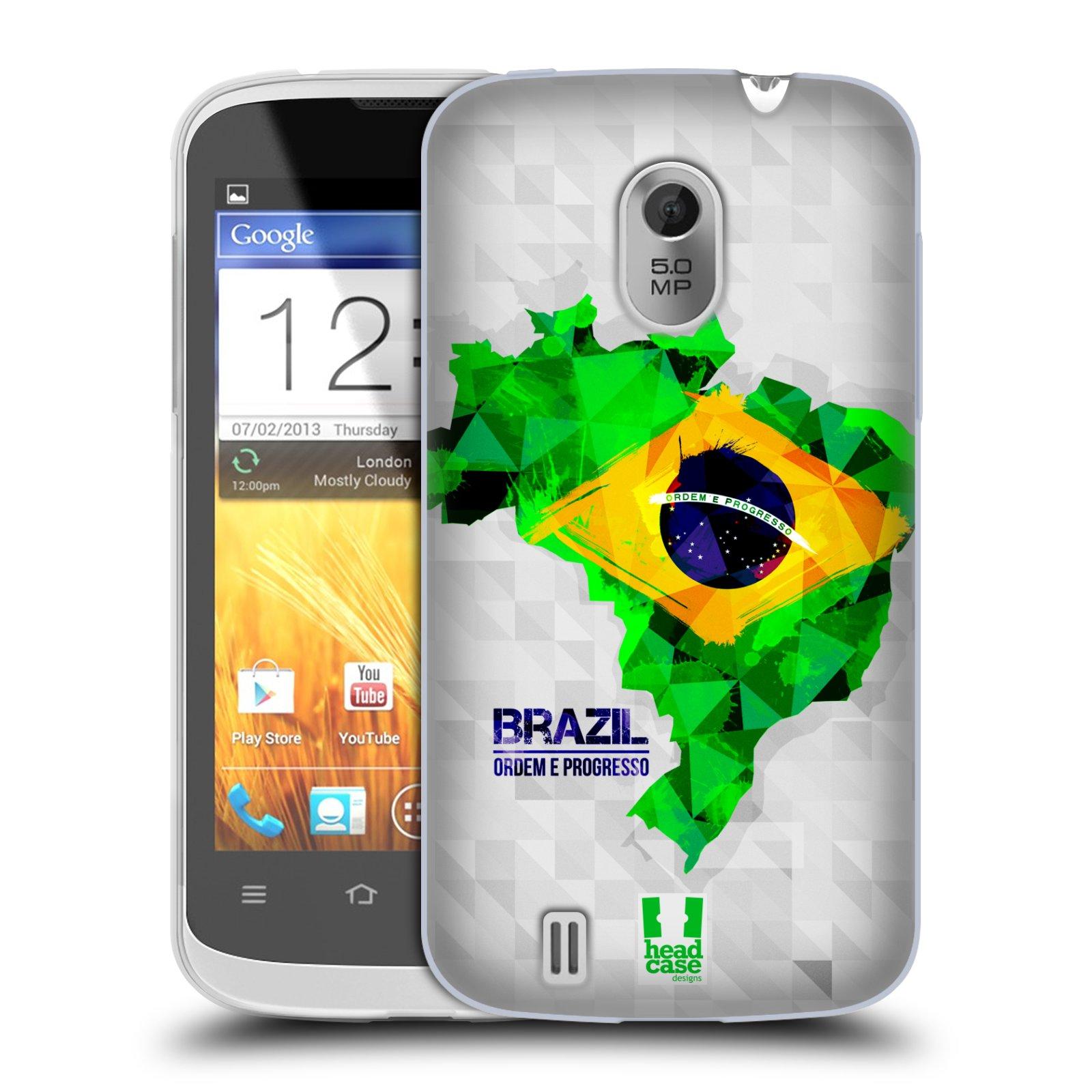 Silikonové pouzdro na mobil ZTE Blade III HEAD CASE GEOMAPA BRAZÍLIE (Silikonový kryt či obal na mobilní telefon ZTE Blade 3)