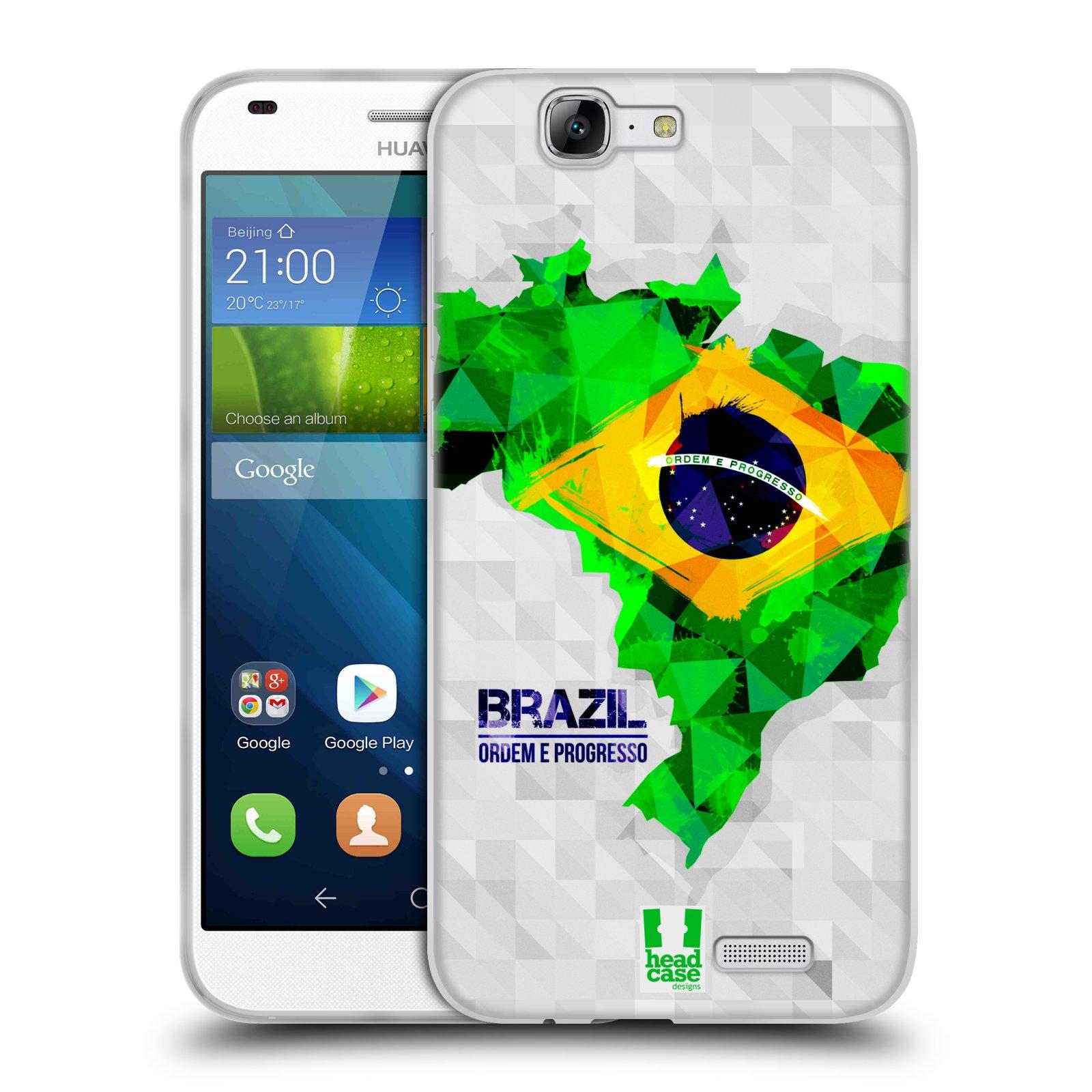 Silikonové pouzdro na mobil Huawei Ascend G7 HEAD CASE GEOMAPA BRAZÍLIE (Silikonový kryt či obal na mobilní telefon Huawei Ascend G7)