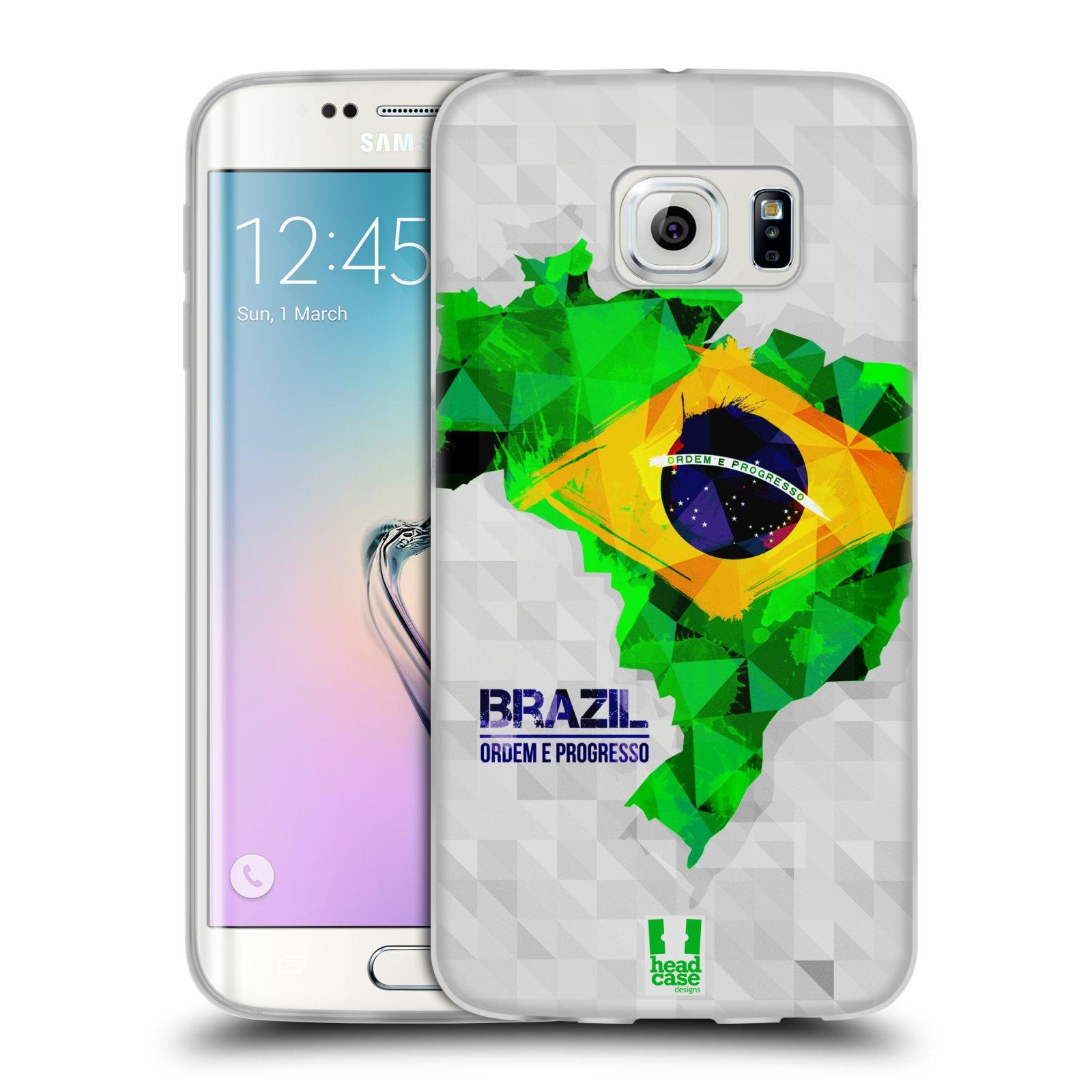 Silikonové pouzdro na mobil Samsung Galaxy S6 Edge HEAD CASE GEOMAPA BRAZÍLIE (Silikonový kryt či obal na mobilní telefon Samsung Galaxy S6 Edge SM-G925F)