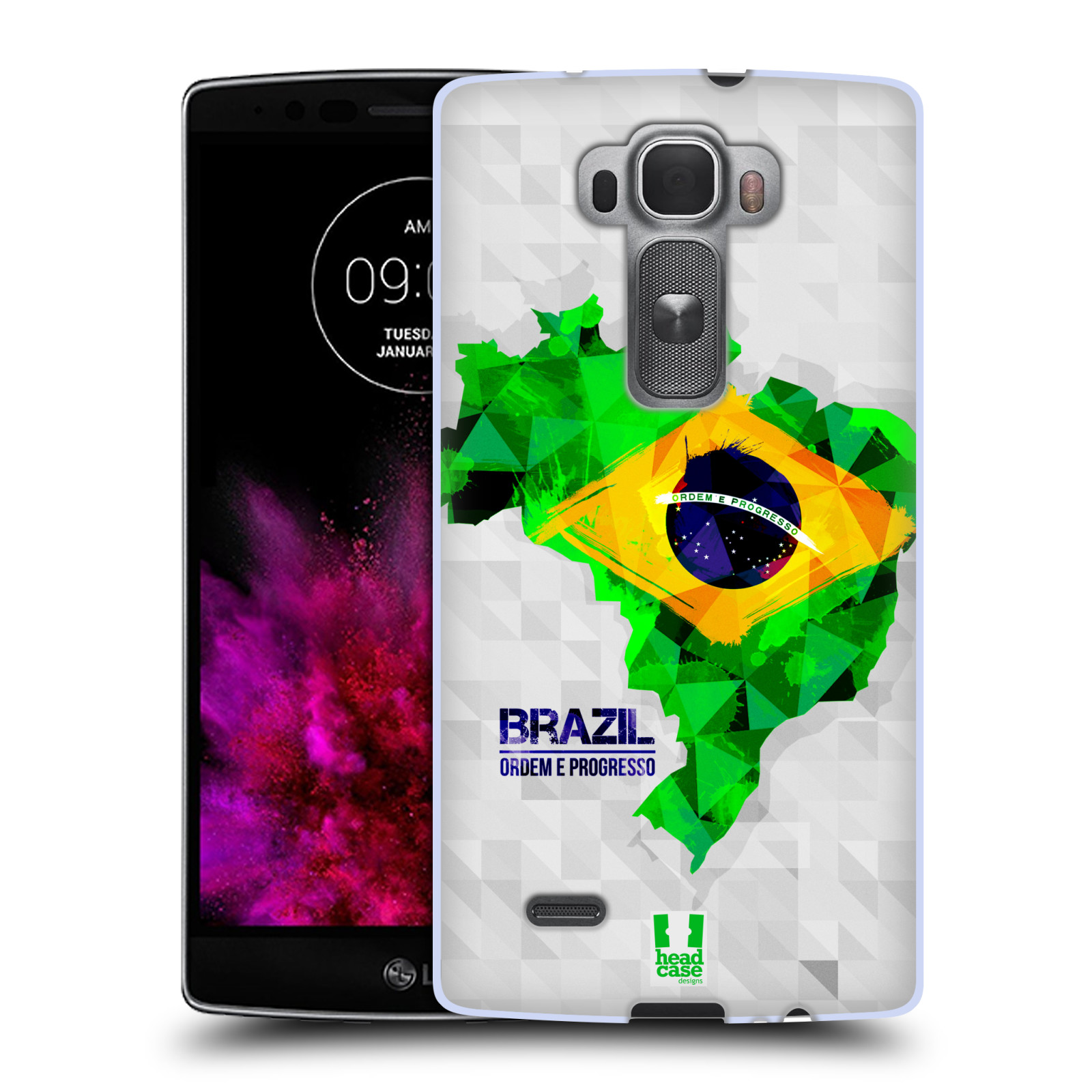 Silikonové pouzdro na mobil LG G Flex 2 HEAD CASE GEOMAPA BRAZÍLIE (Silikonový kryt či obal na mobilní telefon LG G Flex 2 H955)