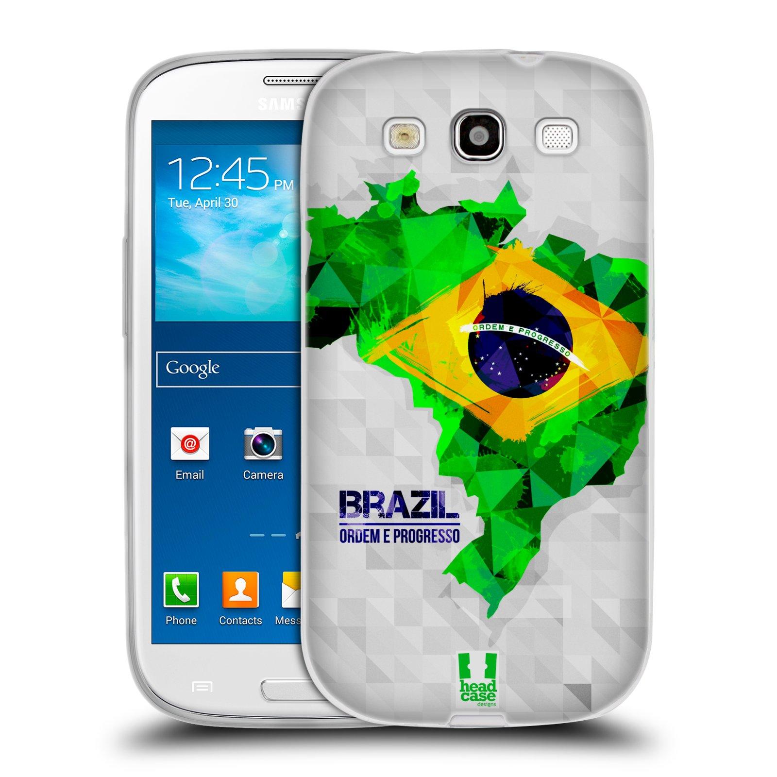 Silikonové pouzdro na mobil Samsung Galaxy S III HEAD CASE GEOMAPA BRAZÍLIE (Silikonový kryt či obal na mobilní telefon Samsung Galaxy S III GT-i9300)