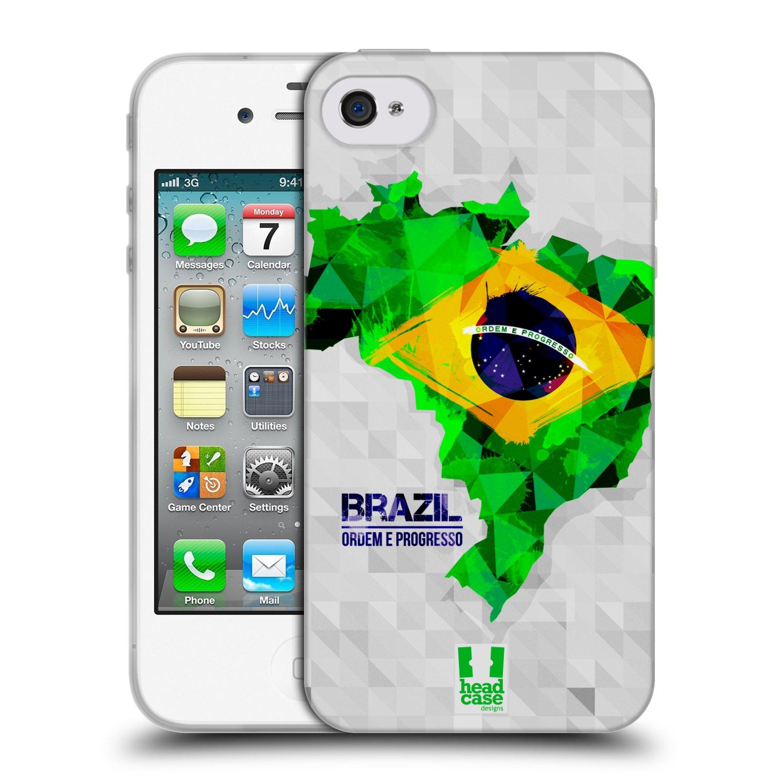 Silikonové pouzdro na mobil Apple iPhone 4 a 4S HEAD CASE GEOMAPA BRAZÍLIE (Silikonový kryt či obal na mobilní telefon Apple iPhone 4 a 4S)