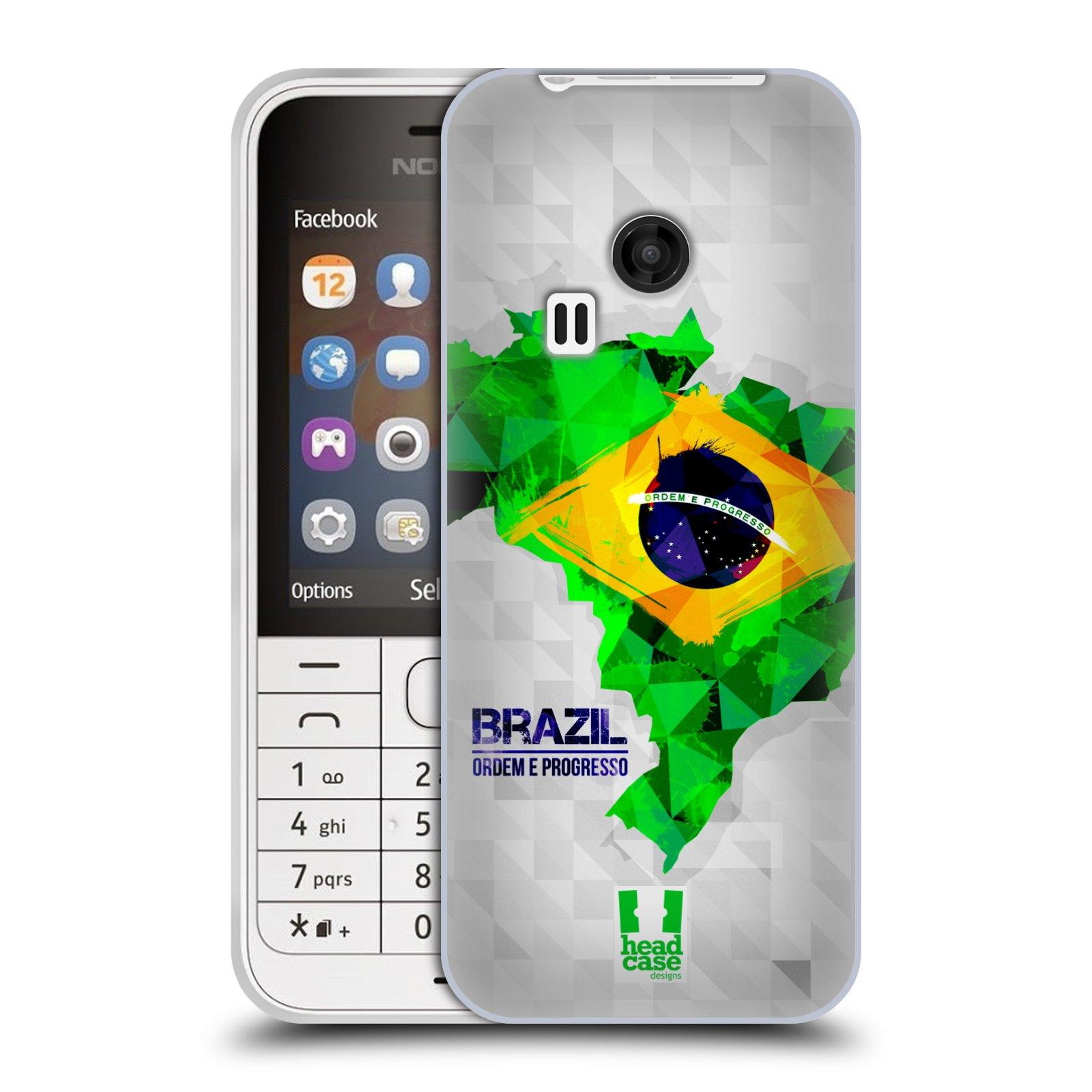 Silikonové pouzdro na mobil Nokia 220 HEAD CASE GEOMAPA BRAZÍLIE (Silikonový kryt či obal na mobilní telefon Nokia 220 a 220 Dual SIM)
