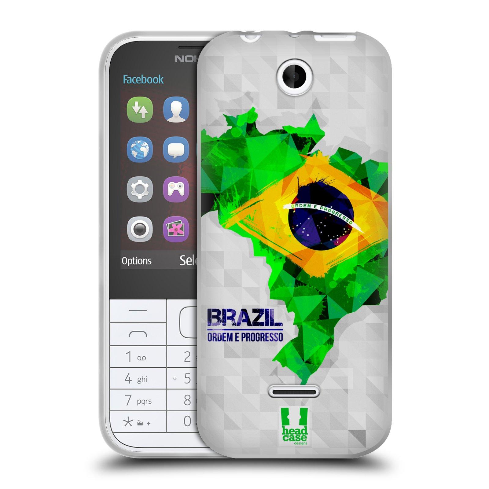 Silikonové pouzdro na mobil Nokia 225 HEAD CASE GEOMAPA BRAZÍLIE (Silikonový kryt či obal na mobilní telefon Nokia 225)