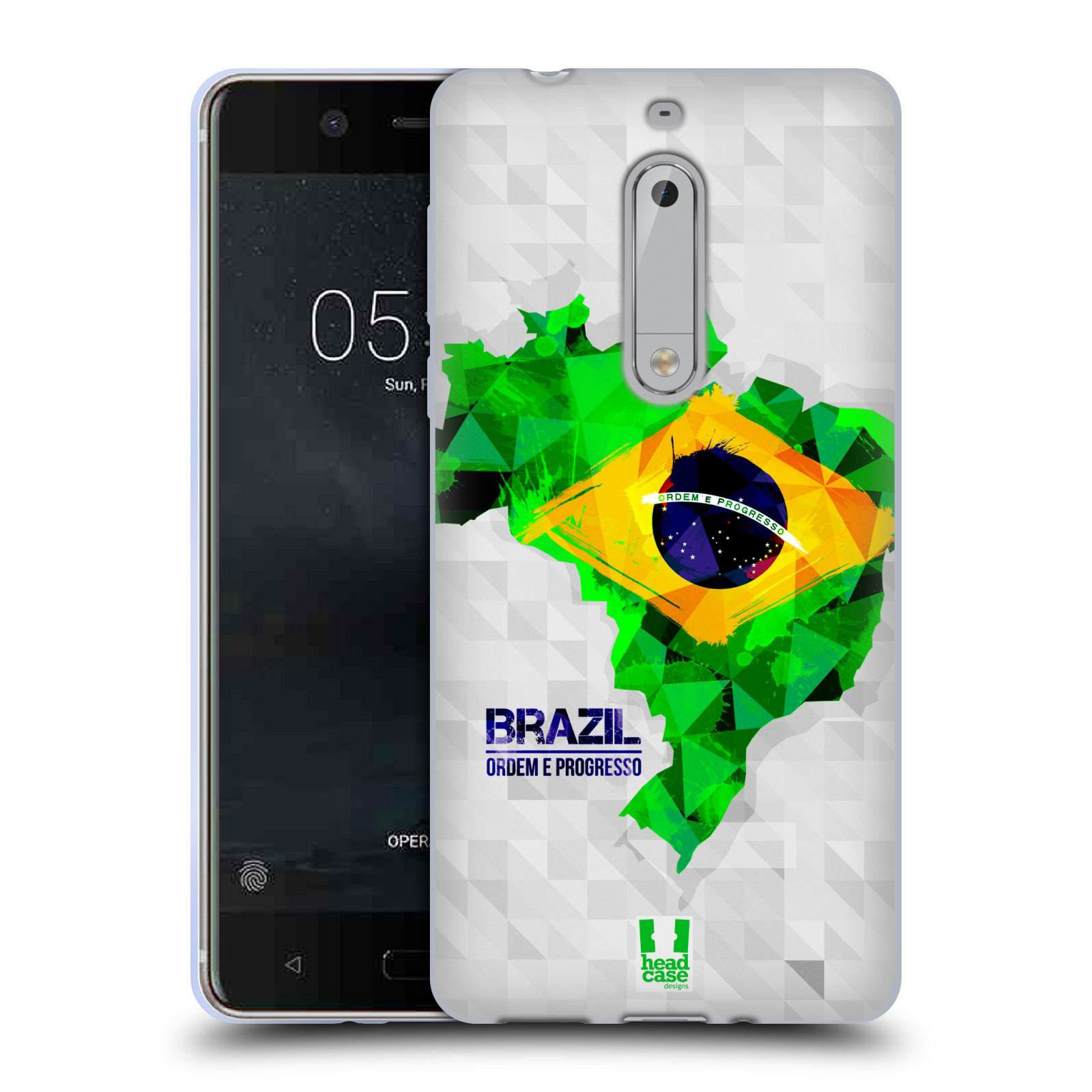 Silikonové pouzdro na mobil Nokia 5 Head Case - GEOMAPA BRAZÍLIE