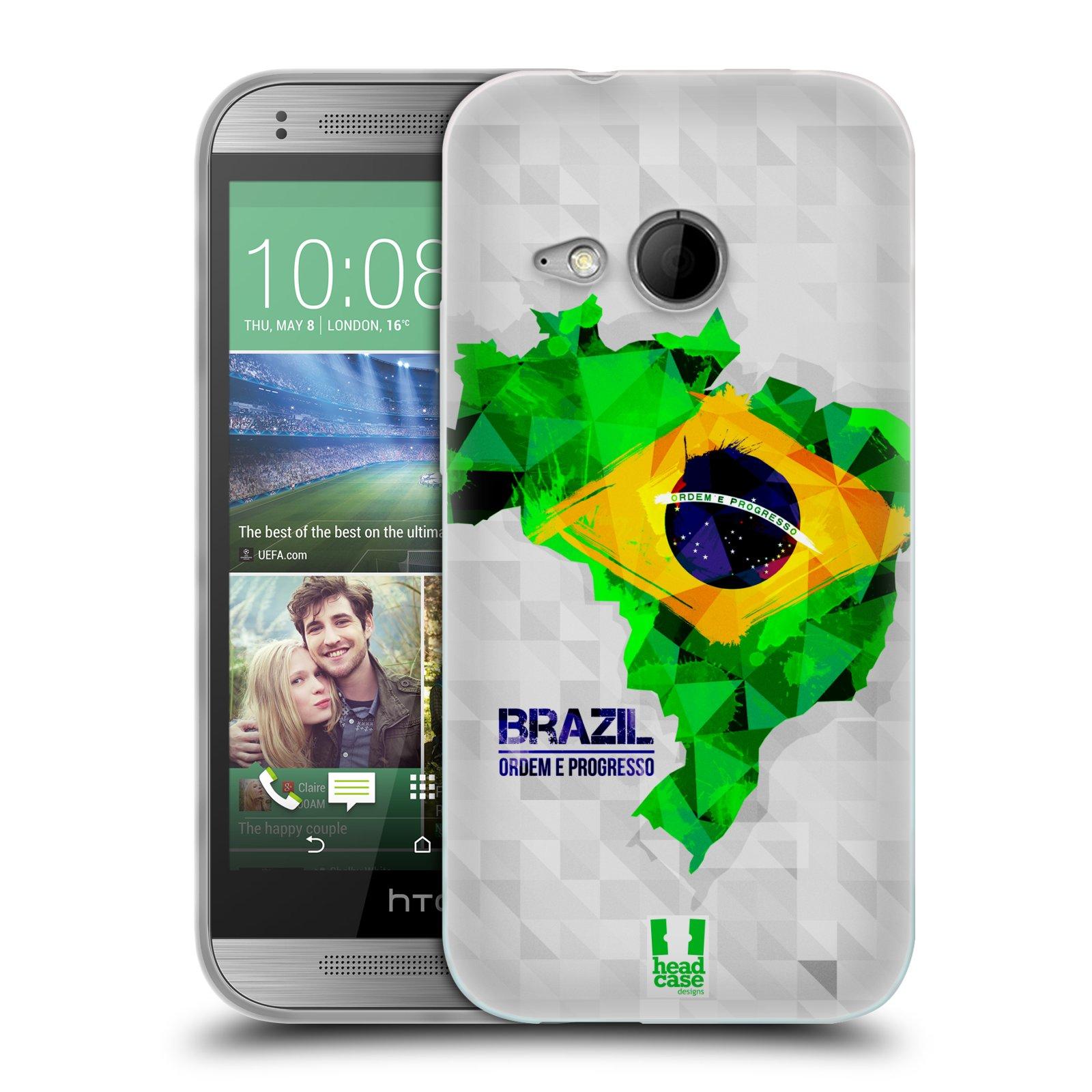 Silikonové pouzdro na mobil HTC ONE Mini 2 HEAD CASE GEOMAPA BRAZÍLIE (Silikonový kryt či obal na mobilní telefon HTC ONE Mini 2)
