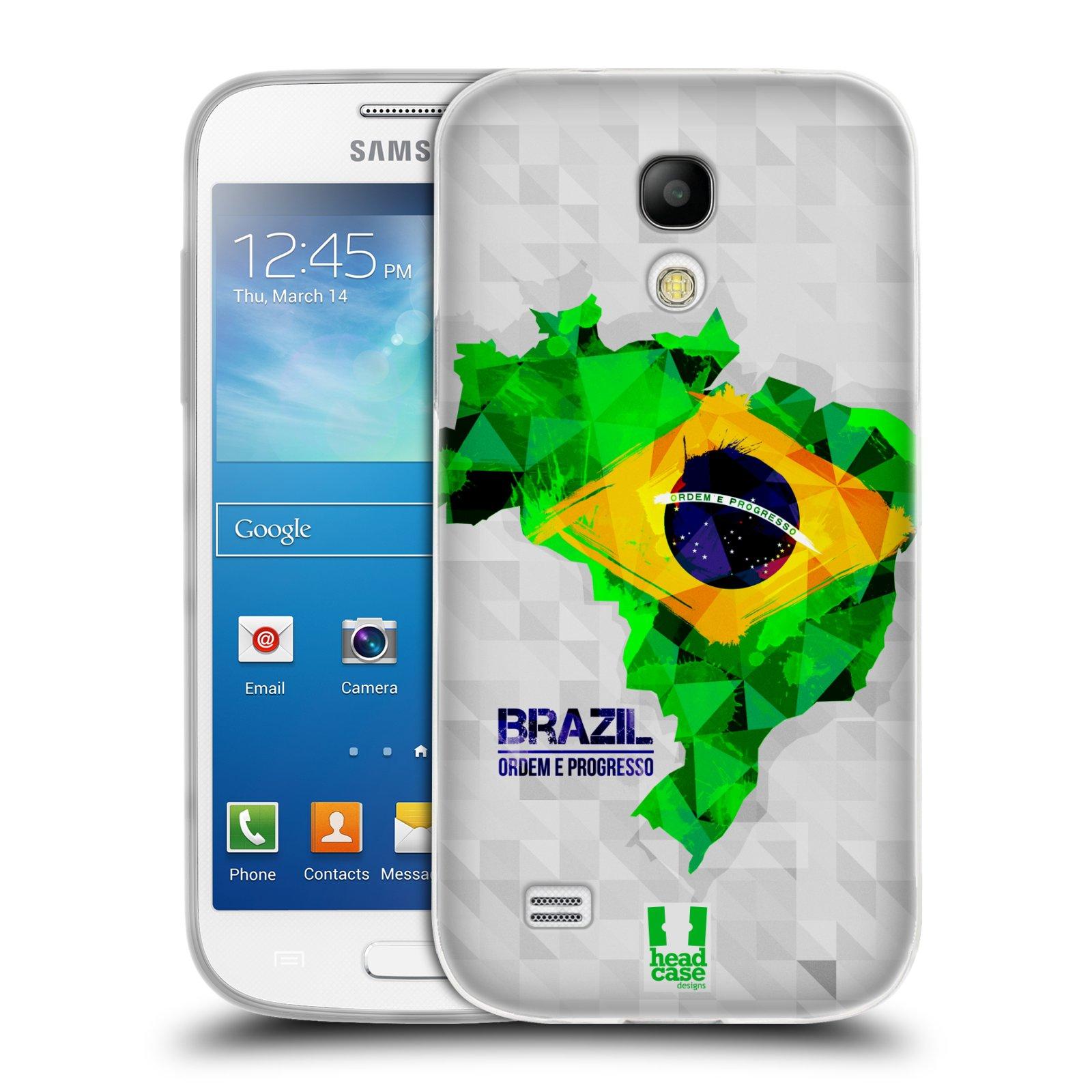 Silikonové pouzdro na mobil Samsung Galaxy S4 Mini HEAD CASE GEOMAPA BRAZÍLIE (Silikonový kryt či obal na mobilní telefon Samsung Galaxy S4 Mini GT-i9195 / i9190 (nepasuje na verzi Black Edition))