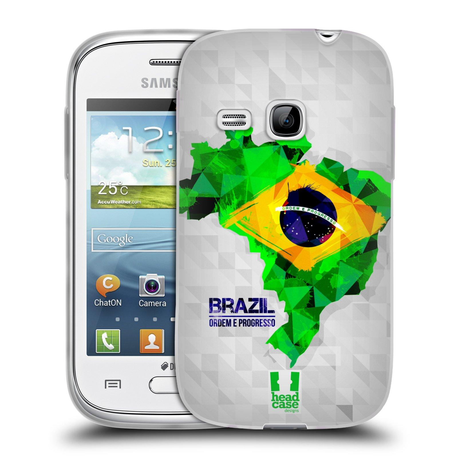 Silikonové pouzdro na mobil Samsung Galaxy Young HEAD CASE GEOMAPA BRAZÍLIE (Silikonový kryt či obal na mobilní telefon Samsung Galaxy Young GT-S6310)
