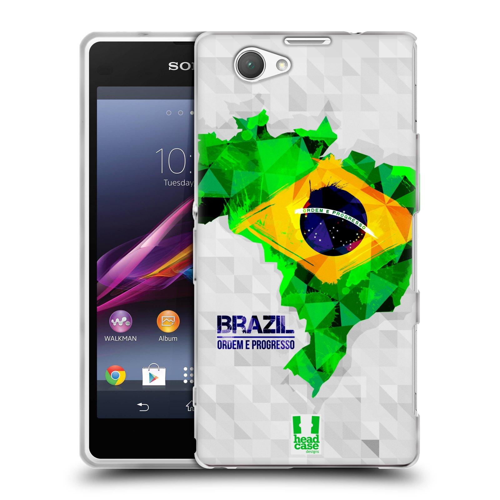 Silikonové pouzdro na mobil Sony Xperia Z1 Compact D5503 HEAD CASE GEOMAPA BRAZÍLIE (Silikonový kryt či obal na mobilní telefon Sony Xperia Z1 Compact)