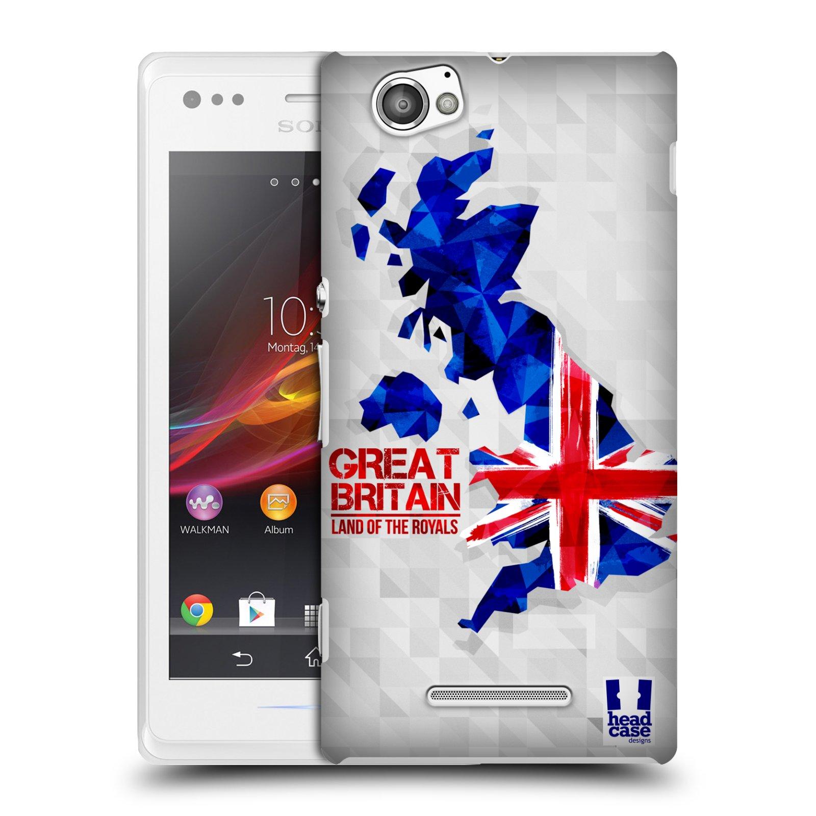 Plastové pouzdro na mobil Sony Xperia M C1905 HEAD CASE GEOMAPA VELKÁ BRTÁNIE (Kryt či obal na mobilní telefon Sony Xperia M a M Dual)
