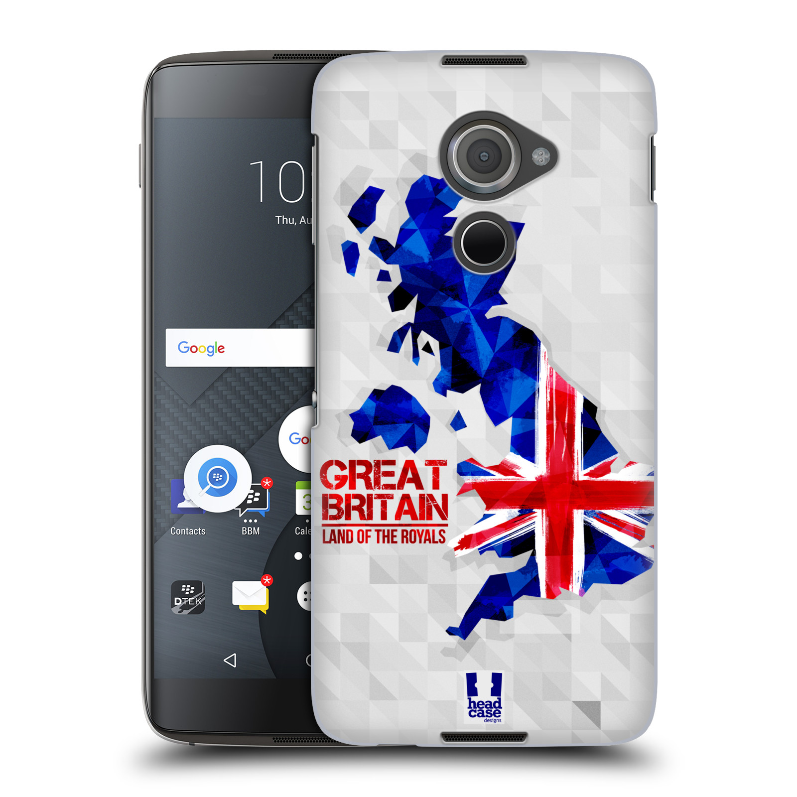 Plastové pouzdro na mobil Blackberry DTEK60 (Argon) - Head Case GEOMAPA VELKÁ BRTÁNIE (Plastový kryt či obal na mobilní telefon Blackberry DTEK60 (Argon))