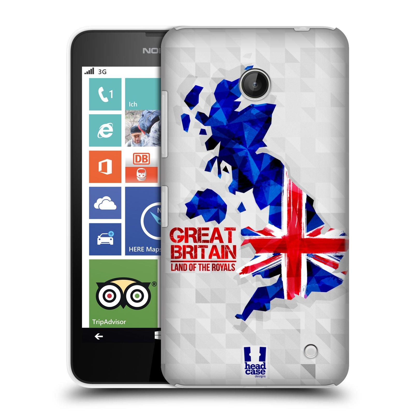 Plastové pouzdro na mobil Nokia Lumia 630 HEAD CASE GEOMAPA VELKÁ BRTÁNIE (Kryt či obal na mobilní telefon Nokia Lumia 630 a Nokia Lumia 630 Dual SIM)