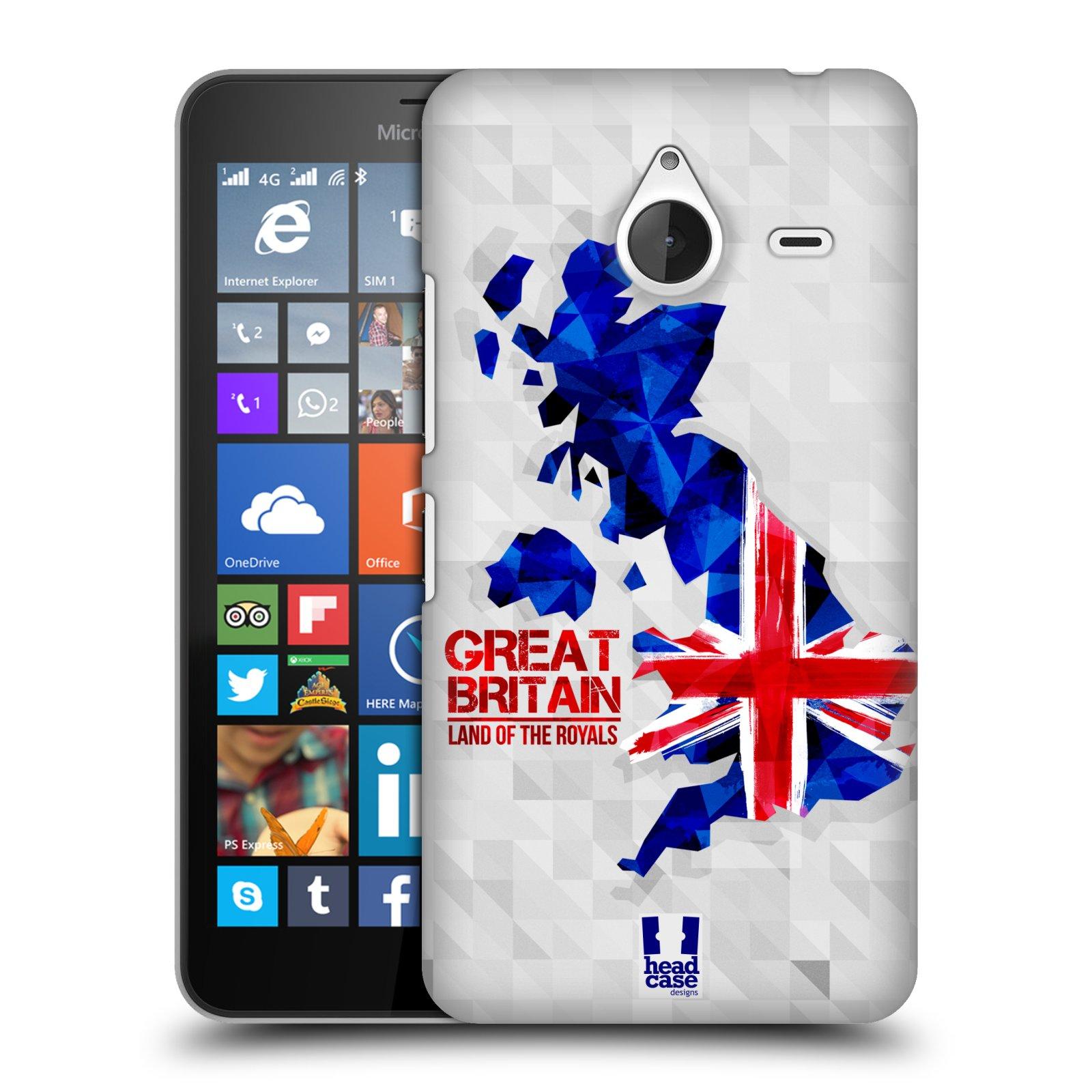 Plastové pouzdro na mobil Microsoft Lumia 640 XL HEAD CASE GEOMAPA VELKÁ BRTÁNIE (Kryt či obal na mobilní telefon Microsoft Lumia 640 XL)
