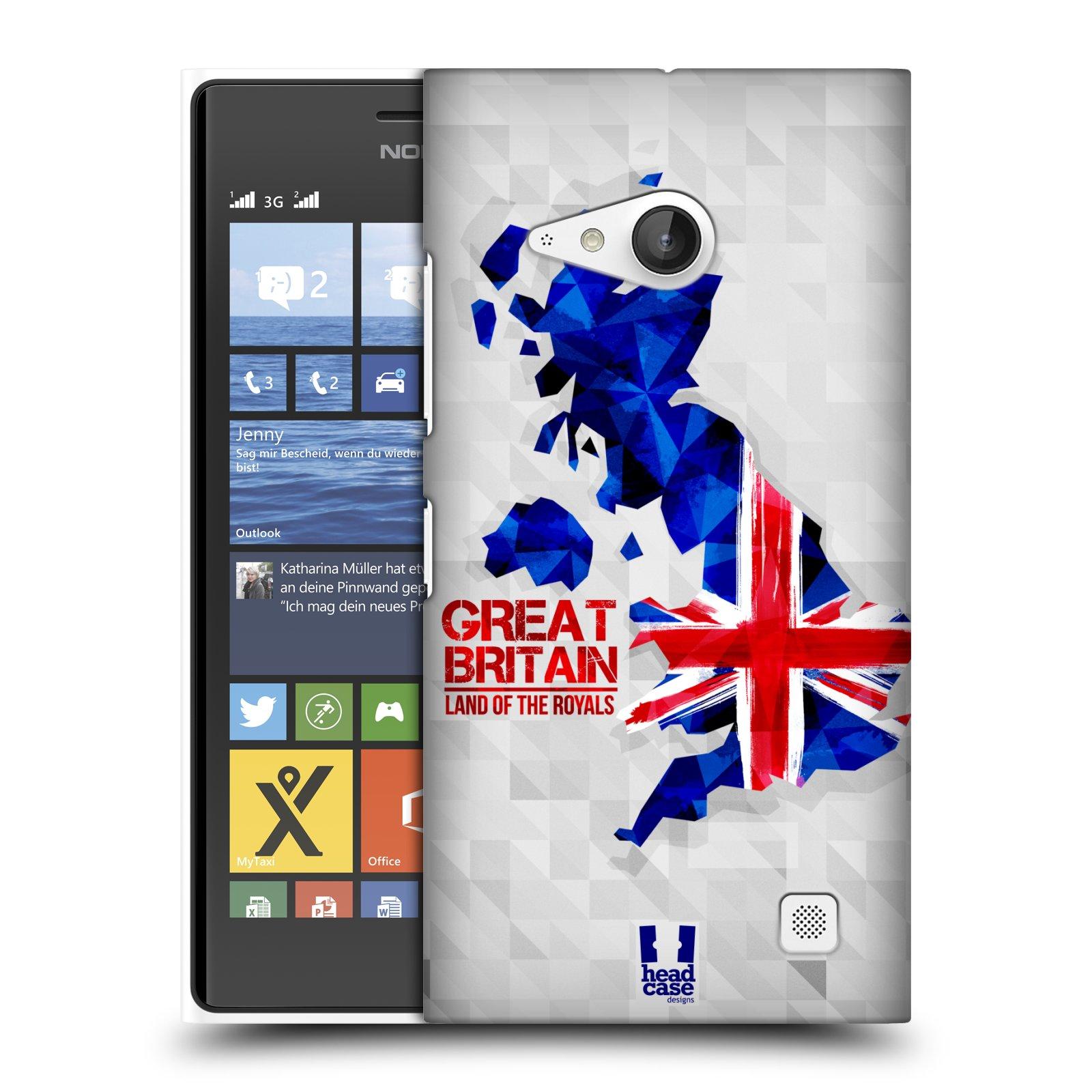 Plastové pouzdro na mobil Nokia Lumia 730 Dual SIM HEAD CASE GEOMAPA VELKÁ BRTÁNIE (Kryt či obal na mobilní telefon Nokia Lumia 730 Dual SIM)