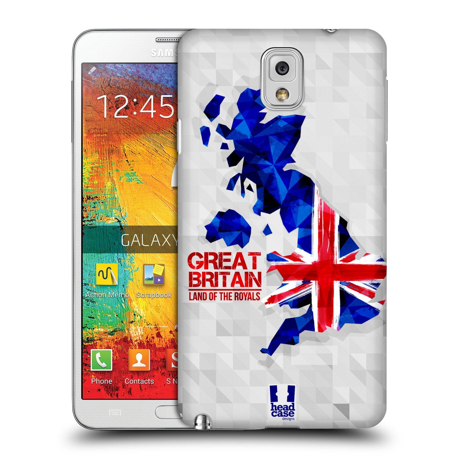 Plastové pouzdro na mobil Samsung Galaxy Note 3 HEAD CASE GEOMAPA VELKÁ BRTÁNIE (Kryt či obal na mobilní telefon Samsung Galaxy Note 3 SM-N9005)