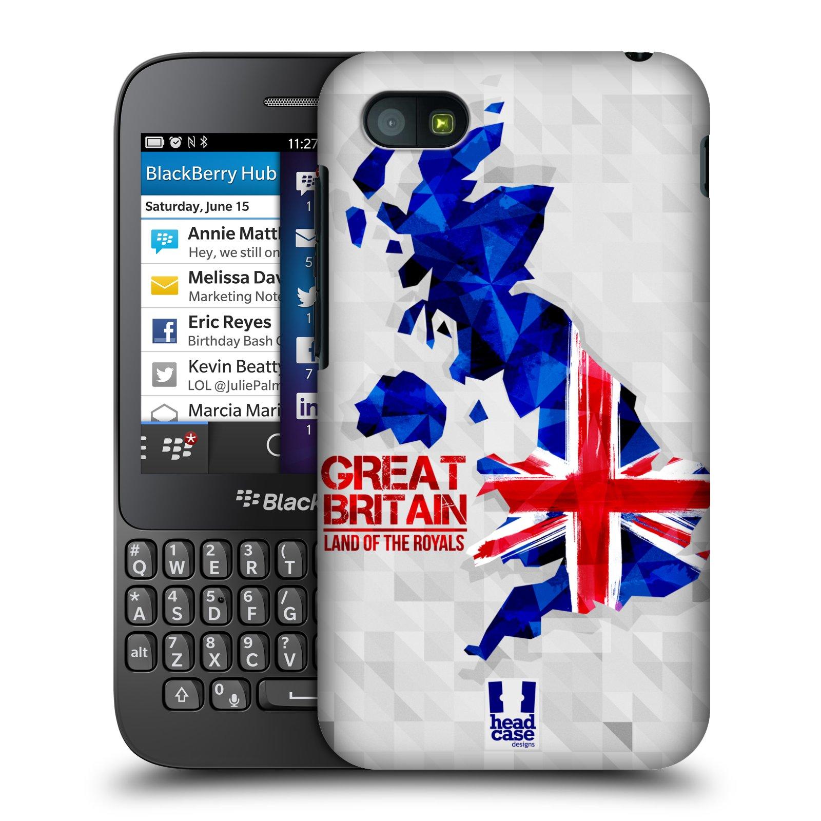 Plastové pouzdro na mobil Blackberry Q5 HEAD CASE GEOMAPA VELKÁ BRTÁNIE (Kryt či obal na mobilní telefon Blackberry Q5)