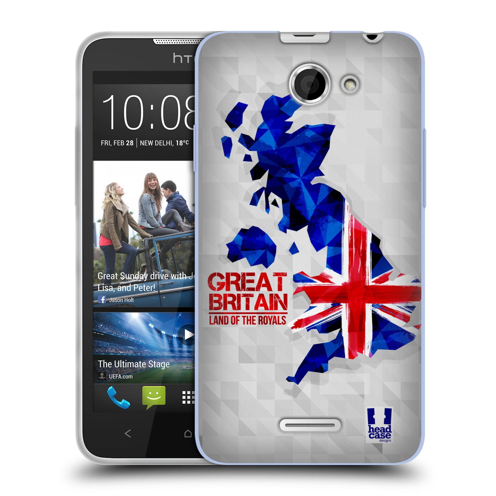 Silikonové pouzdro na mobil HTC Desire 516 HEAD CASE GEOMAPA VELKÁ BRTÁNIE (Silikonový kryt či obal na mobilní telefon HTC Desire 516 Dual SIM)