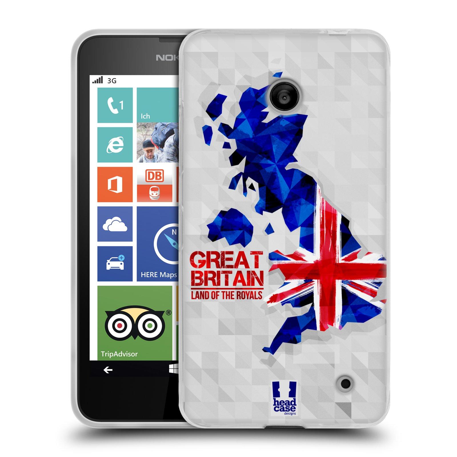 Silikonové pouzdro na mobil Nokia Lumia 630 HEAD CASE GEOMAPA VELKÁ BRTÁNIE (Silikonový kryt či obal na mobilní telefon Nokia Lumia 630 a Nokia Lumia 630 Dual SIM)