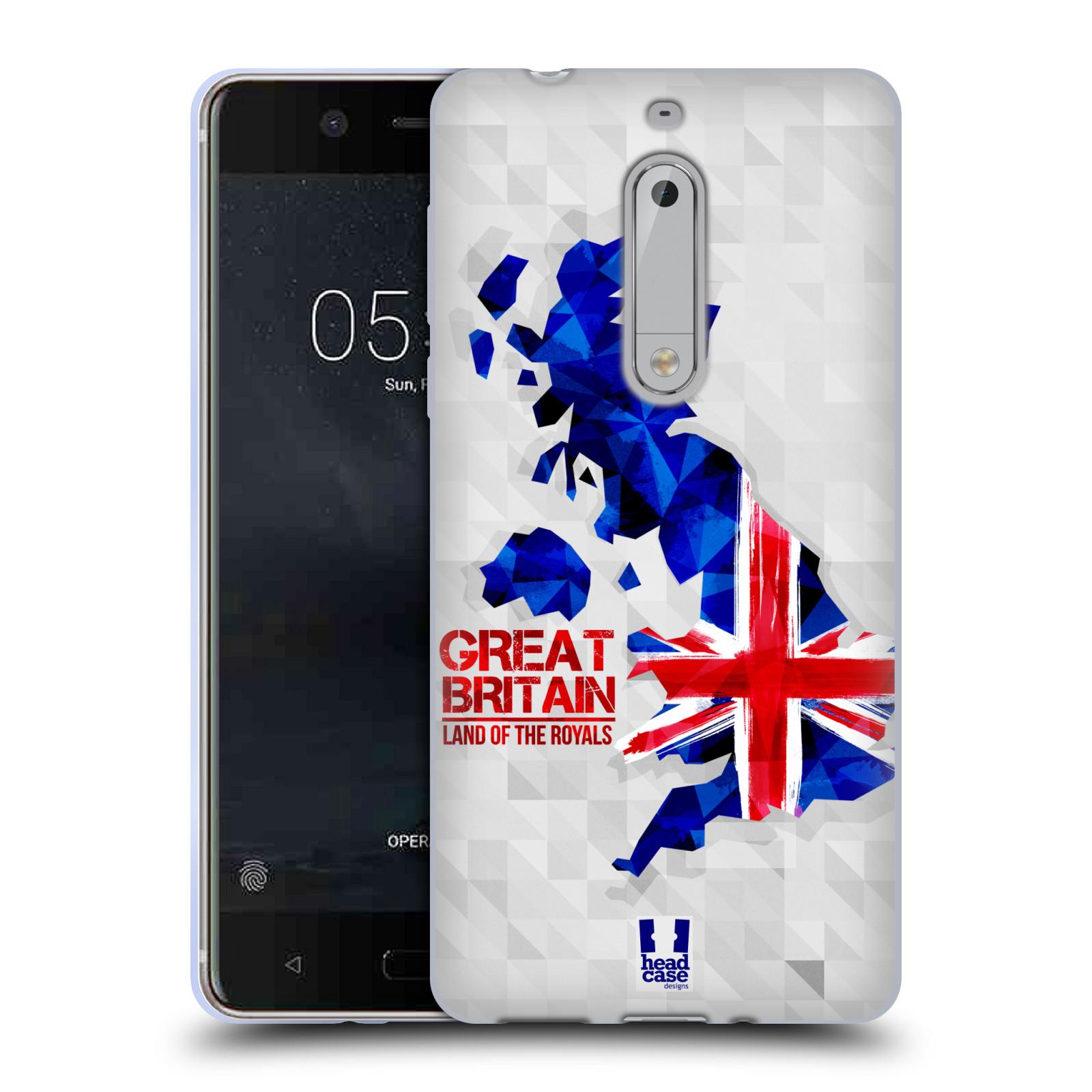 Silikonové pouzdro na mobil Nokia 5 Head Case - GEOMAPA VELKÁ BRTÁNIE