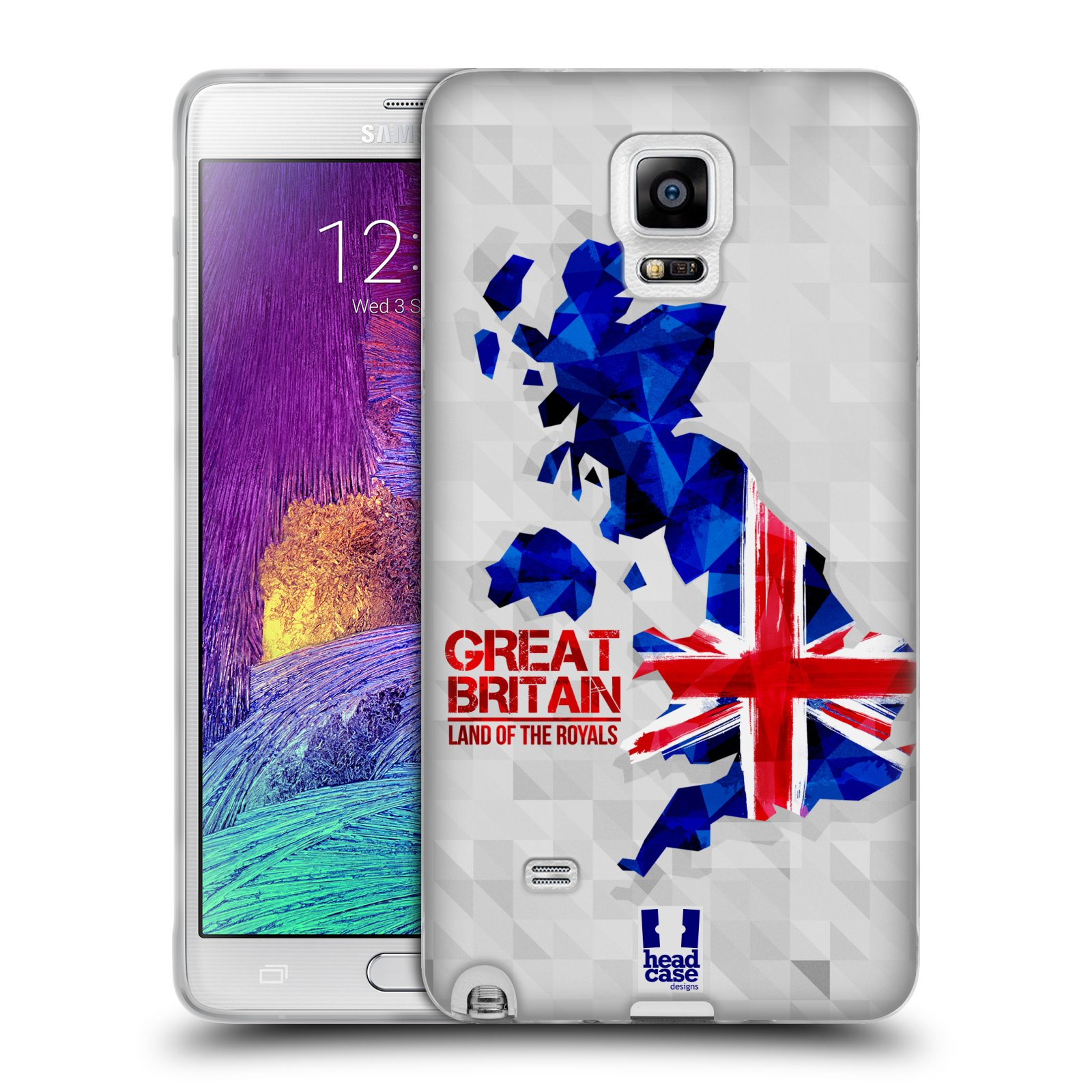 Silikonové pouzdro na mobil Samsung Galaxy Note 4 HEAD CASE GEOMAPA VELKÁ BRTÁNIE (Silikonový kryt či obal na mobilní telefon Samsung Galaxy Note 4 SM-N910F)