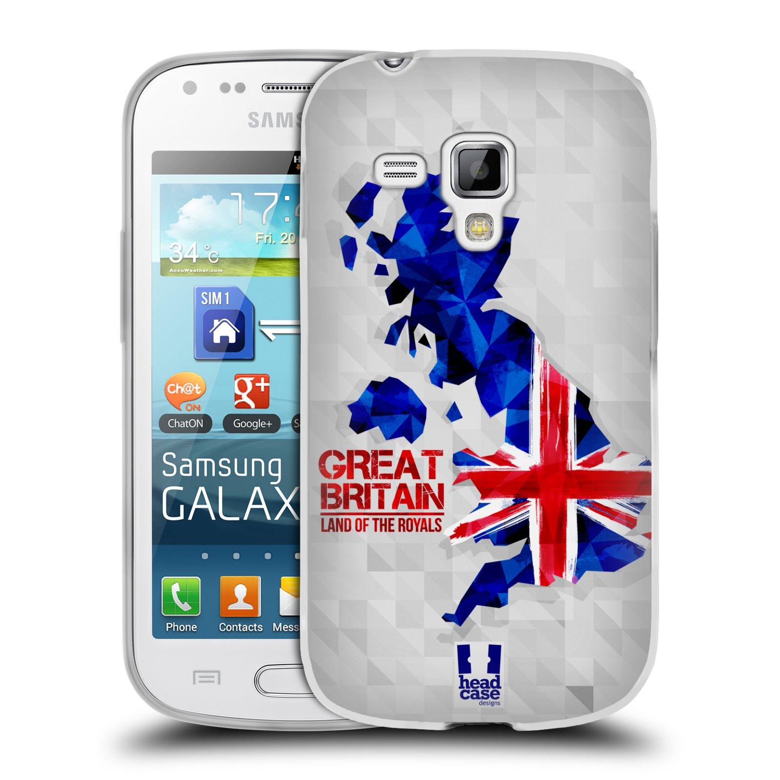 Silikonové pouzdro na mobil Samsung Galaxy Trend HEAD CASE GEOMAPA VELKÁ BRTÁNIE (Silikonový kryt či obal na mobilní telefon Samsung Galaxy Trend GT-S7560)