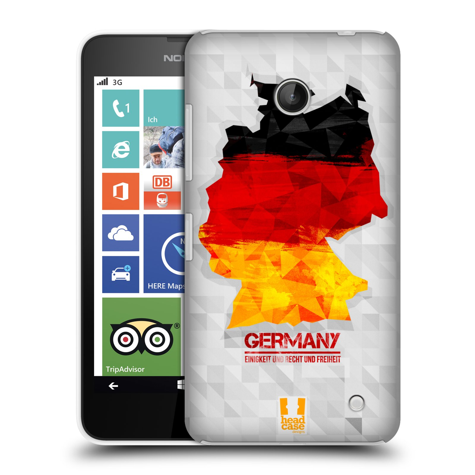 Plastové pouzdro na mobil Nokia Lumia 630 HEAD CASE GEOMAPA NĚMECKO (Kryt či obal na mobilní telefon Nokia Lumia 630 a Nokia Lumia 630 Dual SIM)