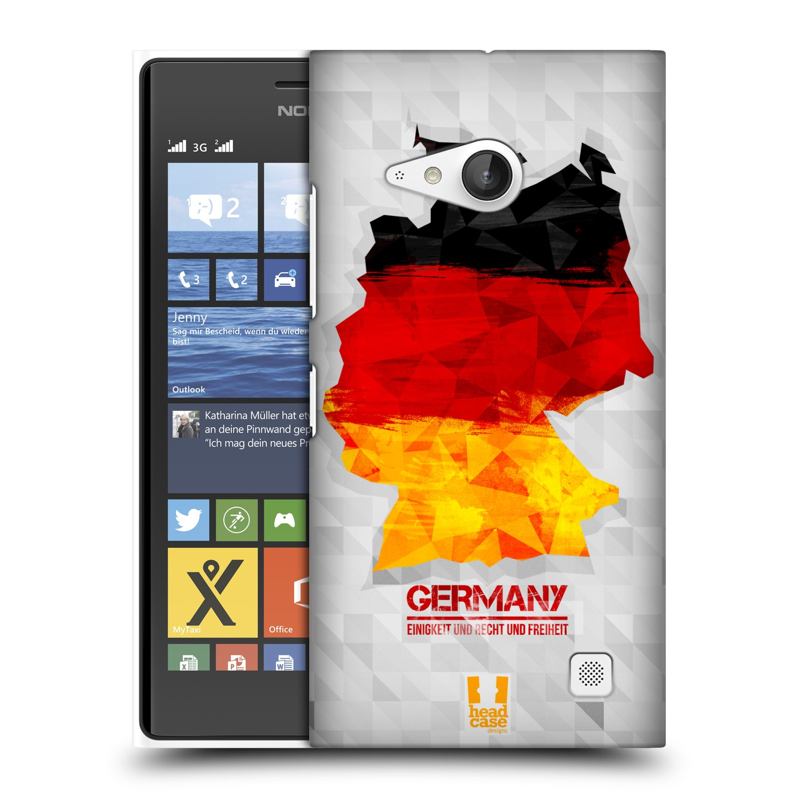 Plastové pouzdro na mobil Nokia Lumia 730 Dual SIM HEAD CASE GEOMAPA NĚMECKO (Kryt či obal na mobilní telefon Nokia Lumia 730 Dual SIM)
