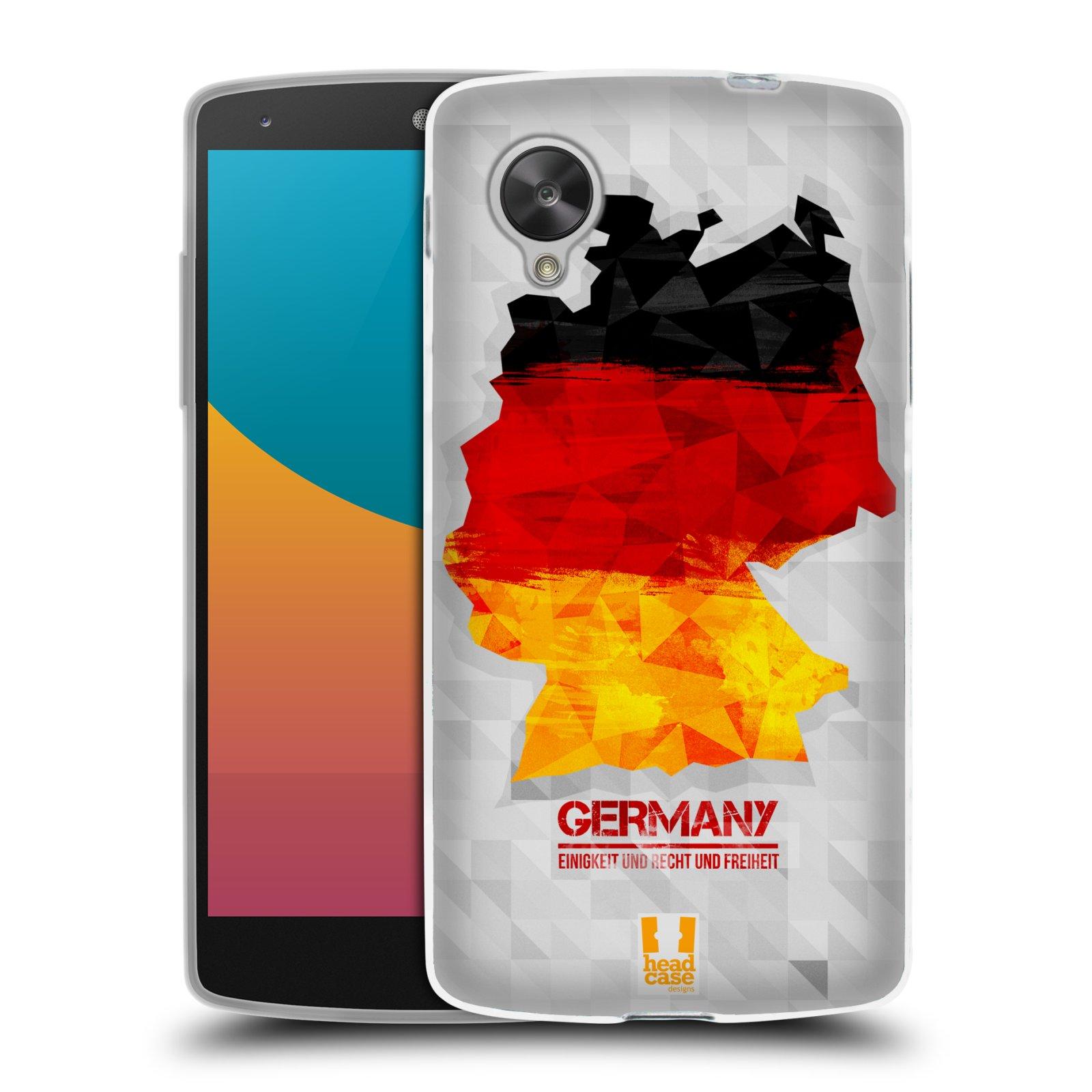 Silikonové pouzdro na mobil LG Nexus 5 HEAD CASE GEOMAPA NĚMECKO (Silikonový kryt či obal na mobilní telefon LG Google Nexus 5 D821)