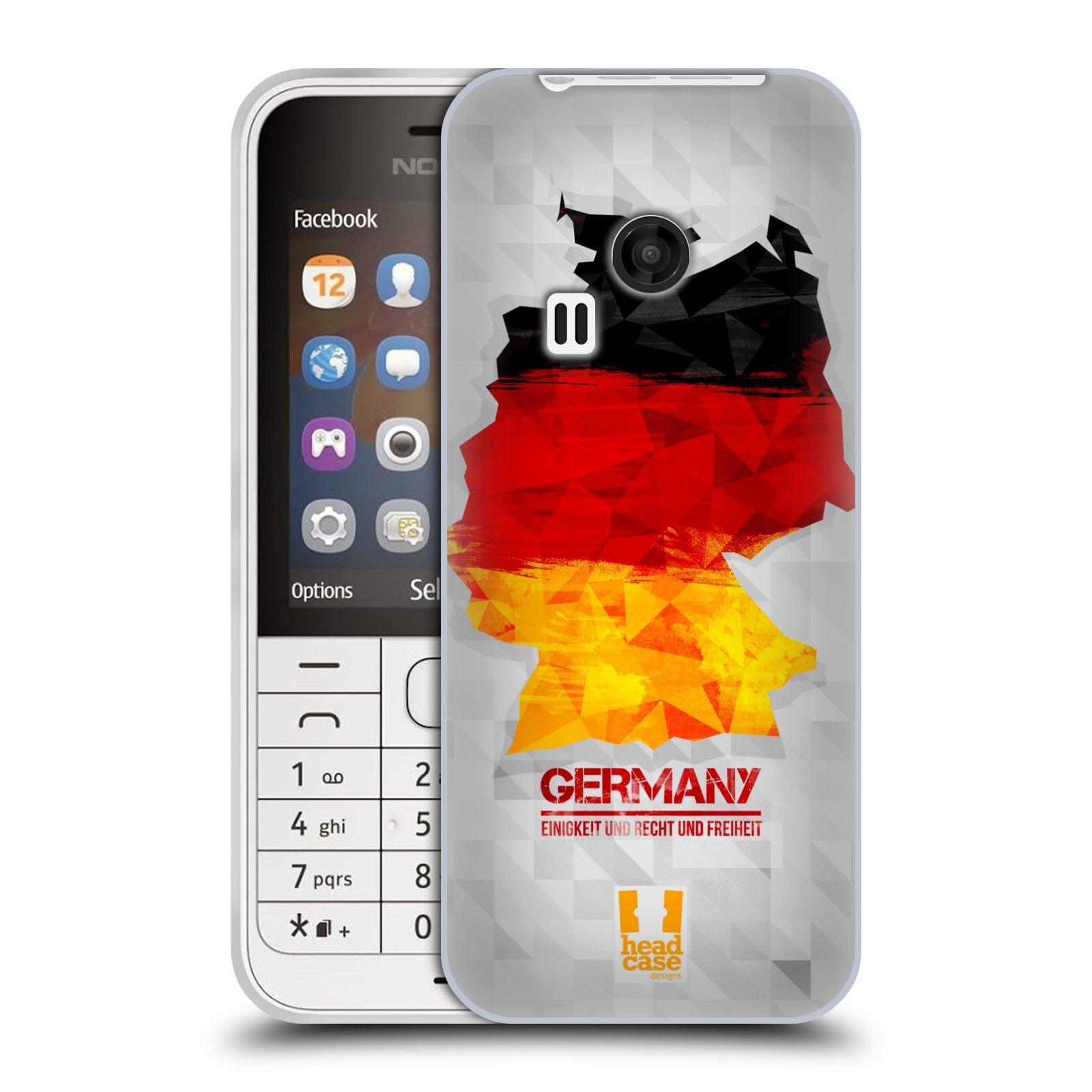 Silikonové pouzdro na mobil Nokia 220 HEAD CASE GEOMAPA NĚMECKO (Silikonový kryt či obal na mobilní telefon Nokia 220 a 220 Dual SIM)