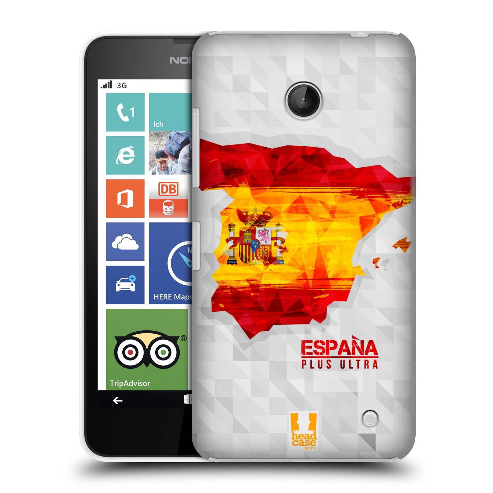 Plastové pouzdro na mobil Nokia Lumia 630 HEAD CASE GEOMAPA ŠPANĚLSKO (Kryt či obal na mobilní telefon Nokia Lumia 630 a Nokia Lumia 630 Dual SIM)