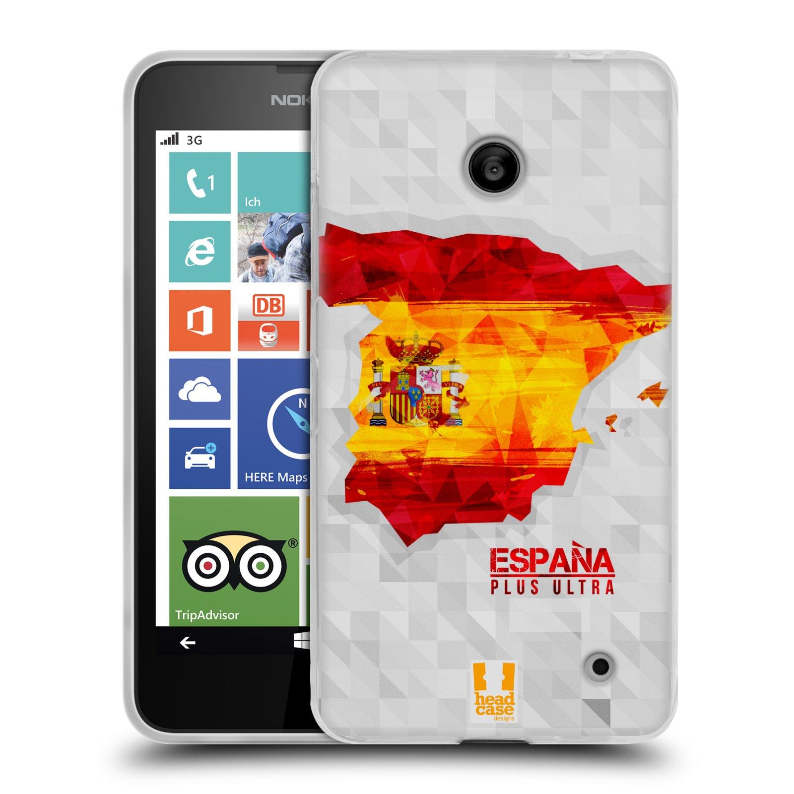 Silikonové pouzdro na mobil Nokia Lumia 630 HEAD CASE GEOMAPA ŠPANĚLSKO (Silikonový kryt či obal na mobilní telefon Nokia Lumia 630 a Nokia Lumia 630 Dual SIM)