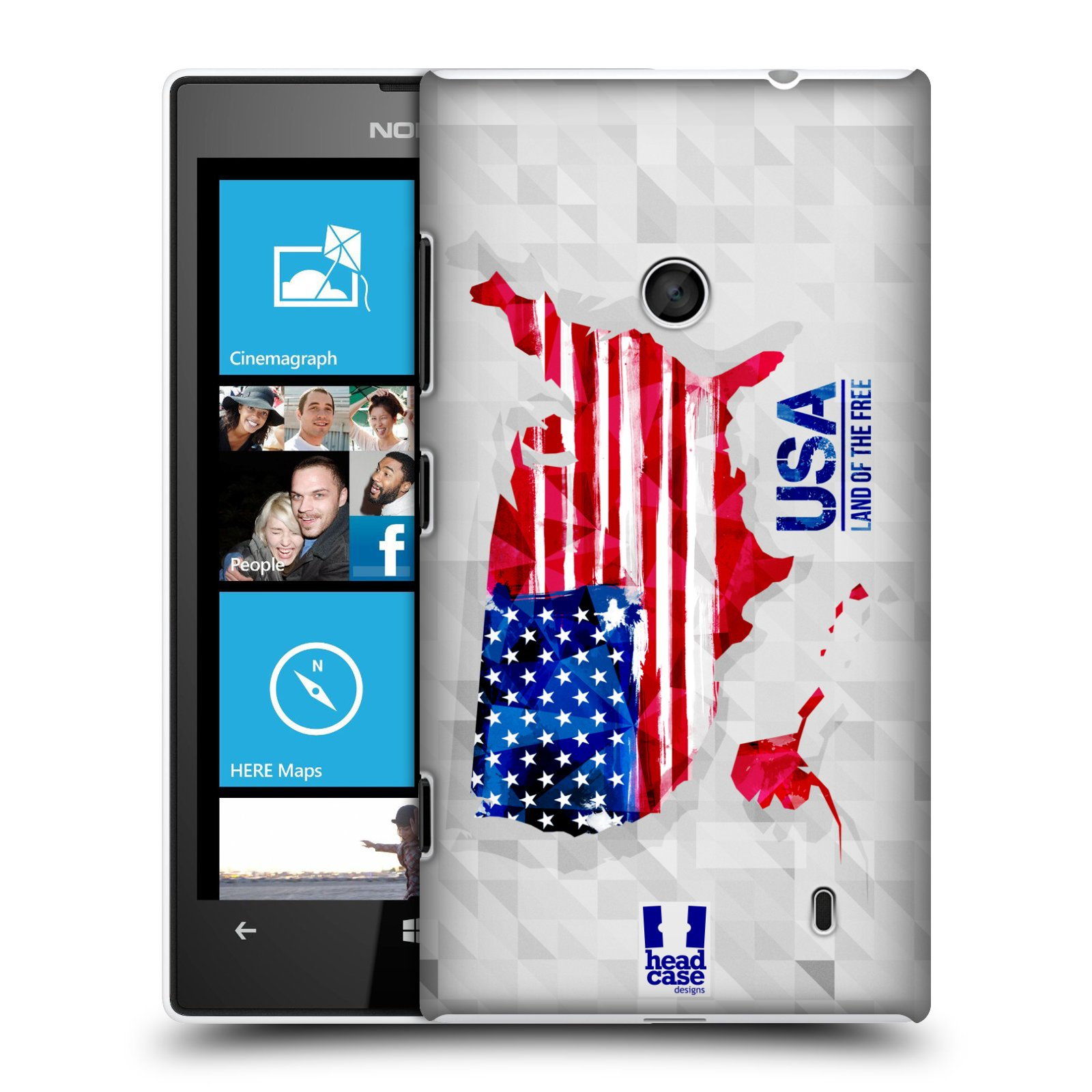 Plastové pouzdro na mobil Nokia Lumia 520 HEAD CASE GEOMAPA USA (Kryt či obal na mobilní telefon Nokia Lumia 520 )