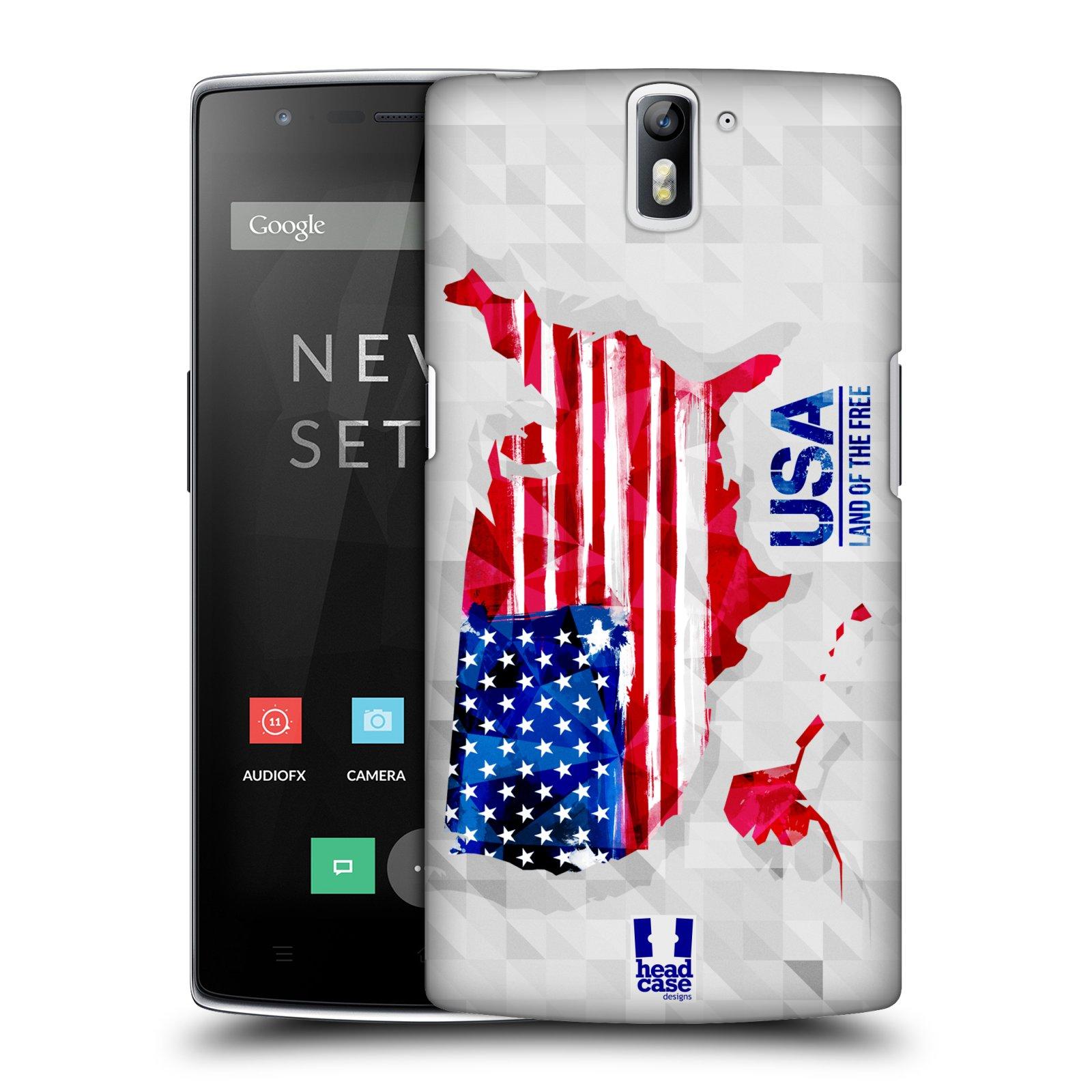 Plastové pouzdro na mobil OnePlus One HEAD CASE GEOMAPA USA (Kryt či obal na mobilní telefon OnePlus One)