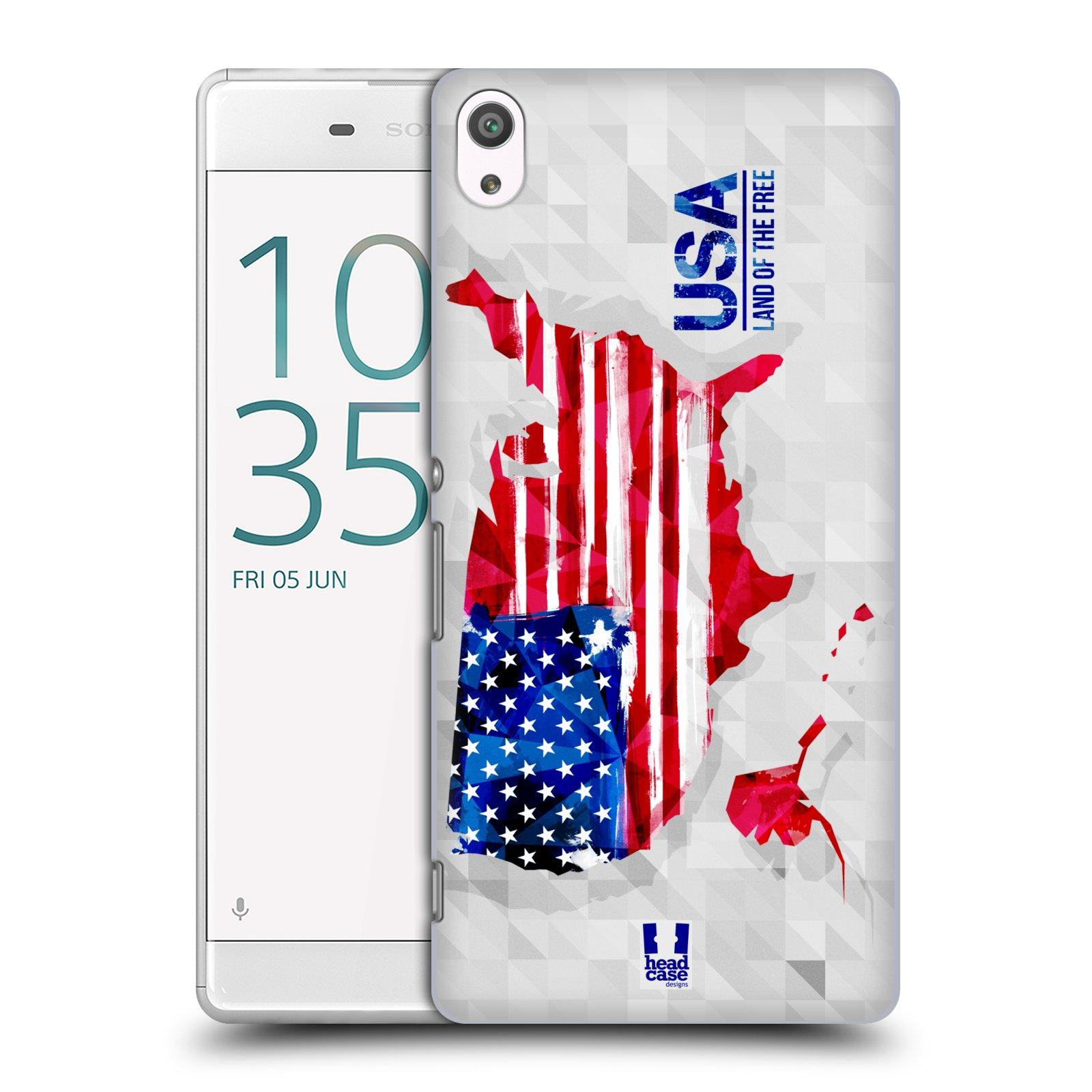 Plastové pouzdro na mobil Sony Xperia XA Ultra HEAD CASE GEOMAPA USA (Plastový kryt či obal na mobilní telefon Sony Xperia XA Ultra F3211)