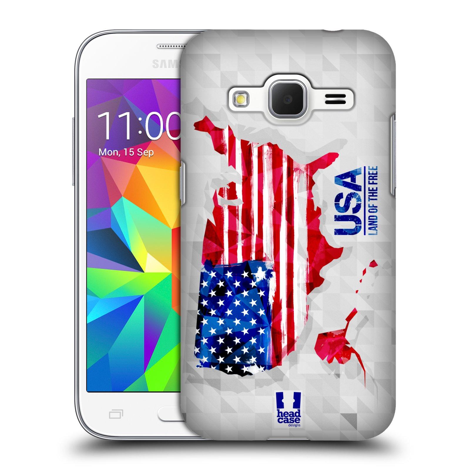 Plastové pouzdro na mobil Samsung Galaxy Core Prime VE HEAD CASE GEOMAPA USA (Kryt či obal na mobilní telefon Samsung Galaxy Core Prime LTE VE SM-G361F)