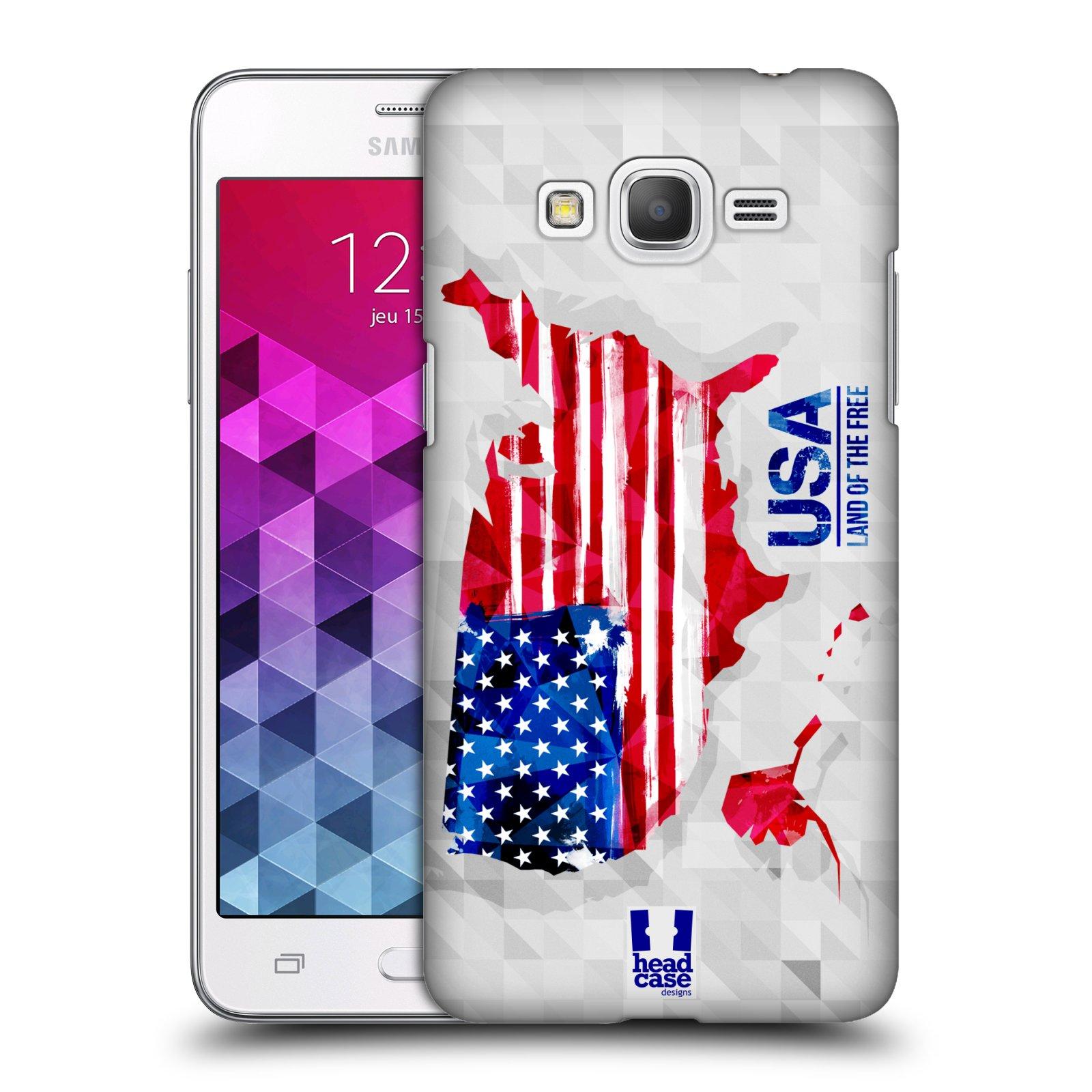 Plastové pouzdro na mobil Samsung Galaxy Grand Prime HEAD CASE GEOMAPA USA (Kryt či obal na mobilní telefon Samsung Galaxy Grand Prime SM-G530)