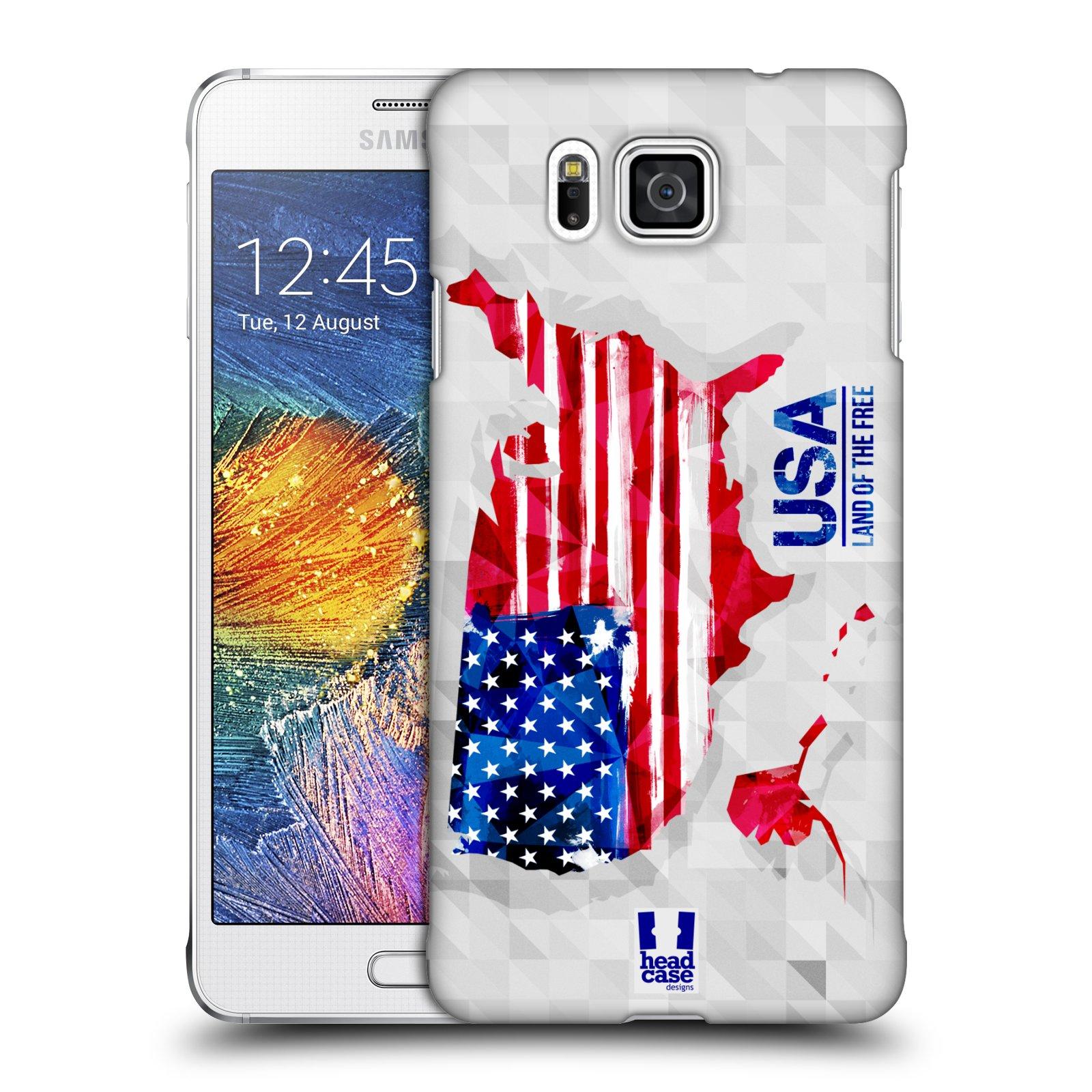 Plastové pouzdro na mobil Samsung Galaxy Alpha HEAD CASE GEOMAPA USA (Kryt či obal na mobilní telefon Samsung Galaxy Alpha SM-G850)