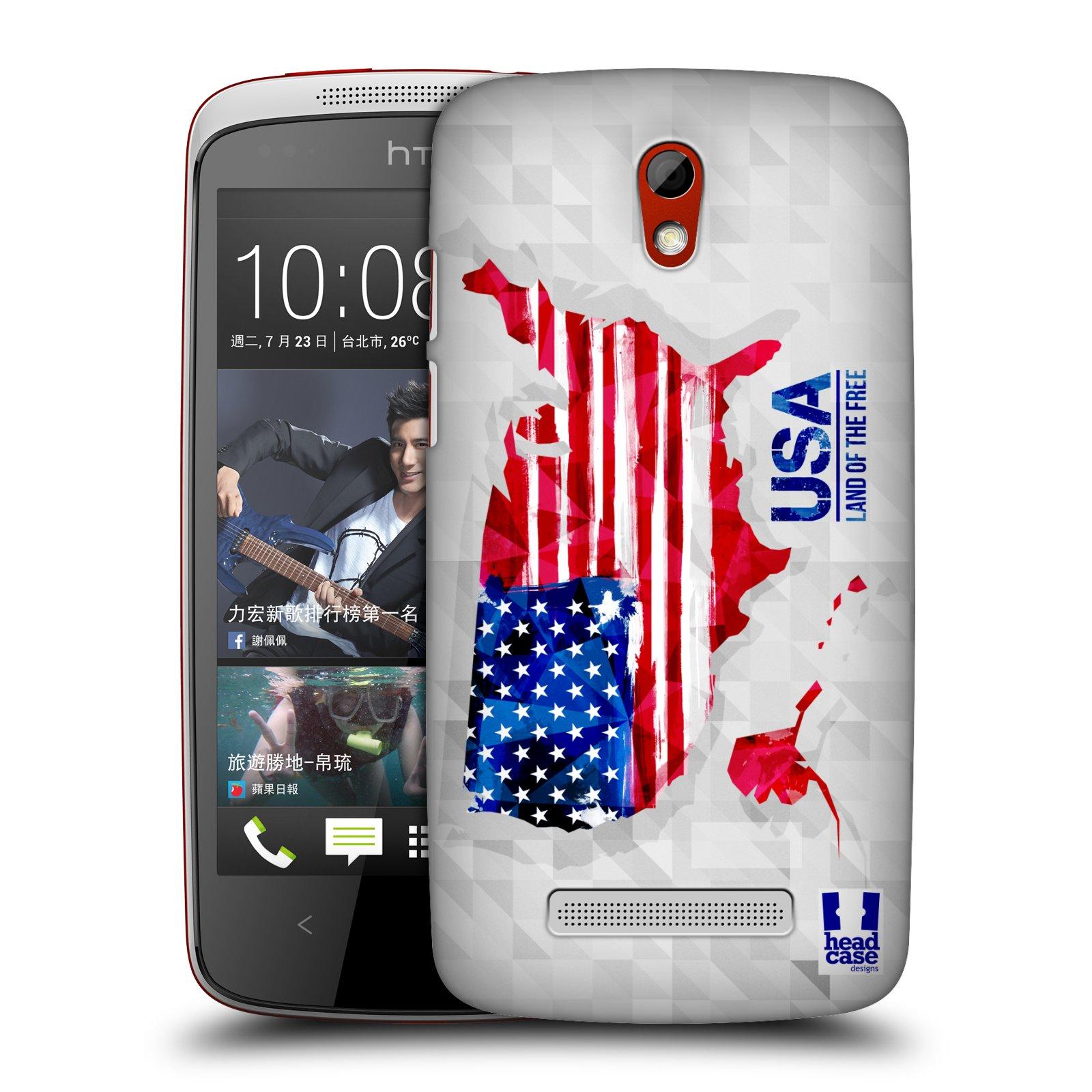 Plastové pouzdro na mobil HTC Desire 500 HEAD CASE GEOMAPA USA (Kryt či obal na mobilní telefon HTC Desire 500)