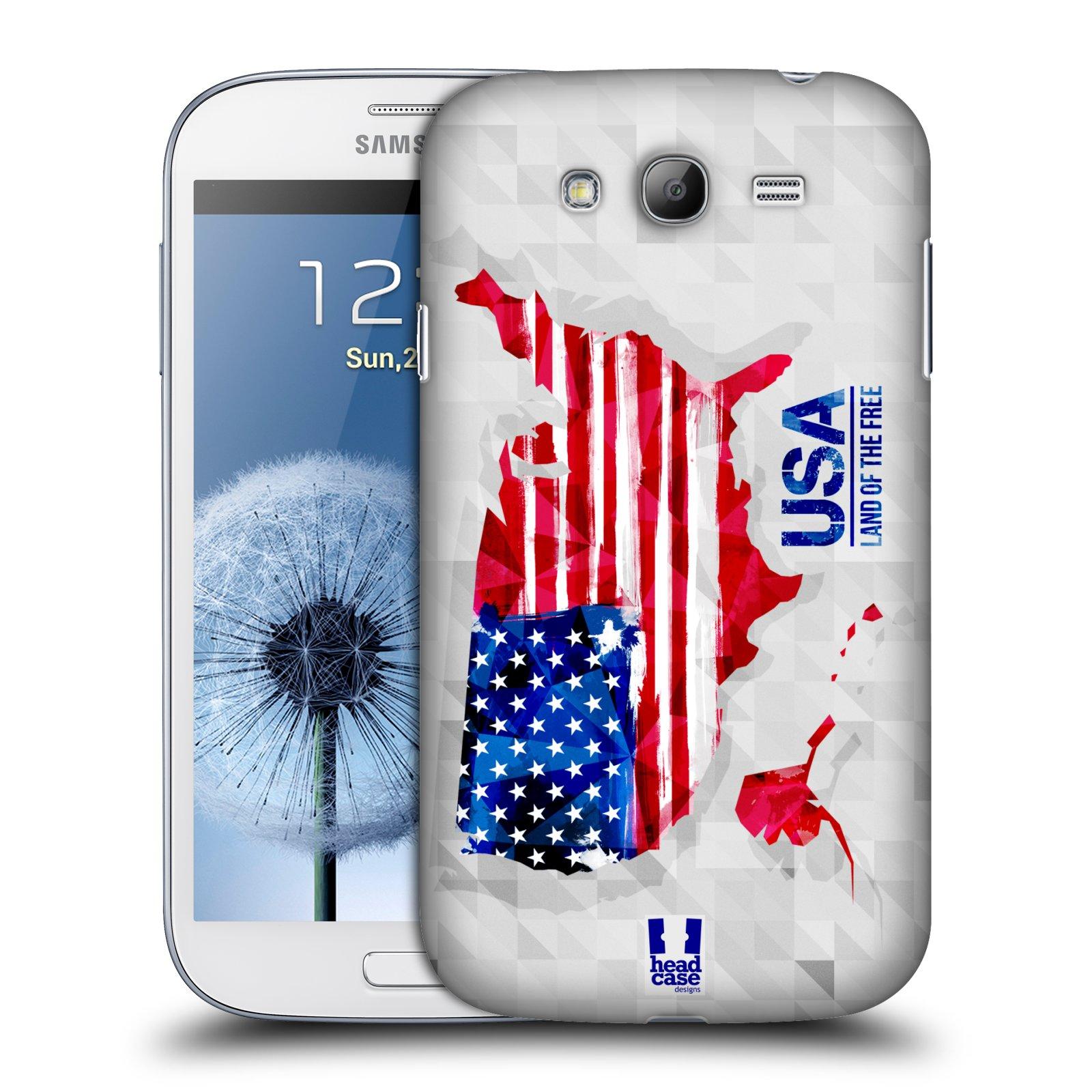 Plastové pouzdro na mobil Samsung Galaxy Grand Neo Plus HEAD CASE GEOMAPA USA (Kryt či obal na mobilní telefon Samsung Galaxy Grand Neo Plus GT-i9060i)