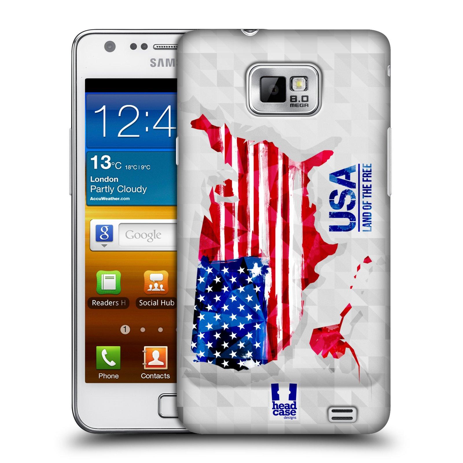 Plastové pouzdro na mobil Samsung Galaxy S II HEAD CASE GEOMAPA USA (Kryt či obal na mobilní telefon Samsung Galaxy S II GT-i9100)
