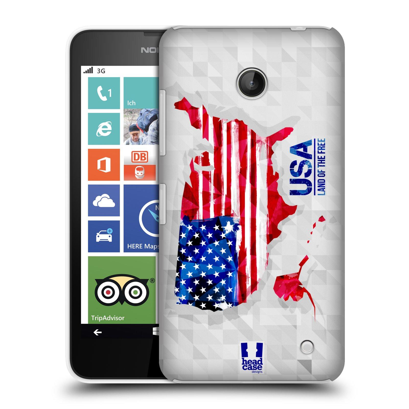 Plastové pouzdro na mobil Nokia Lumia 630 HEAD CASE GEOMAPA USA (Kryt či obal na mobilní telefon Nokia Lumia 630 a Nokia Lumia 630 Dual SIM)
