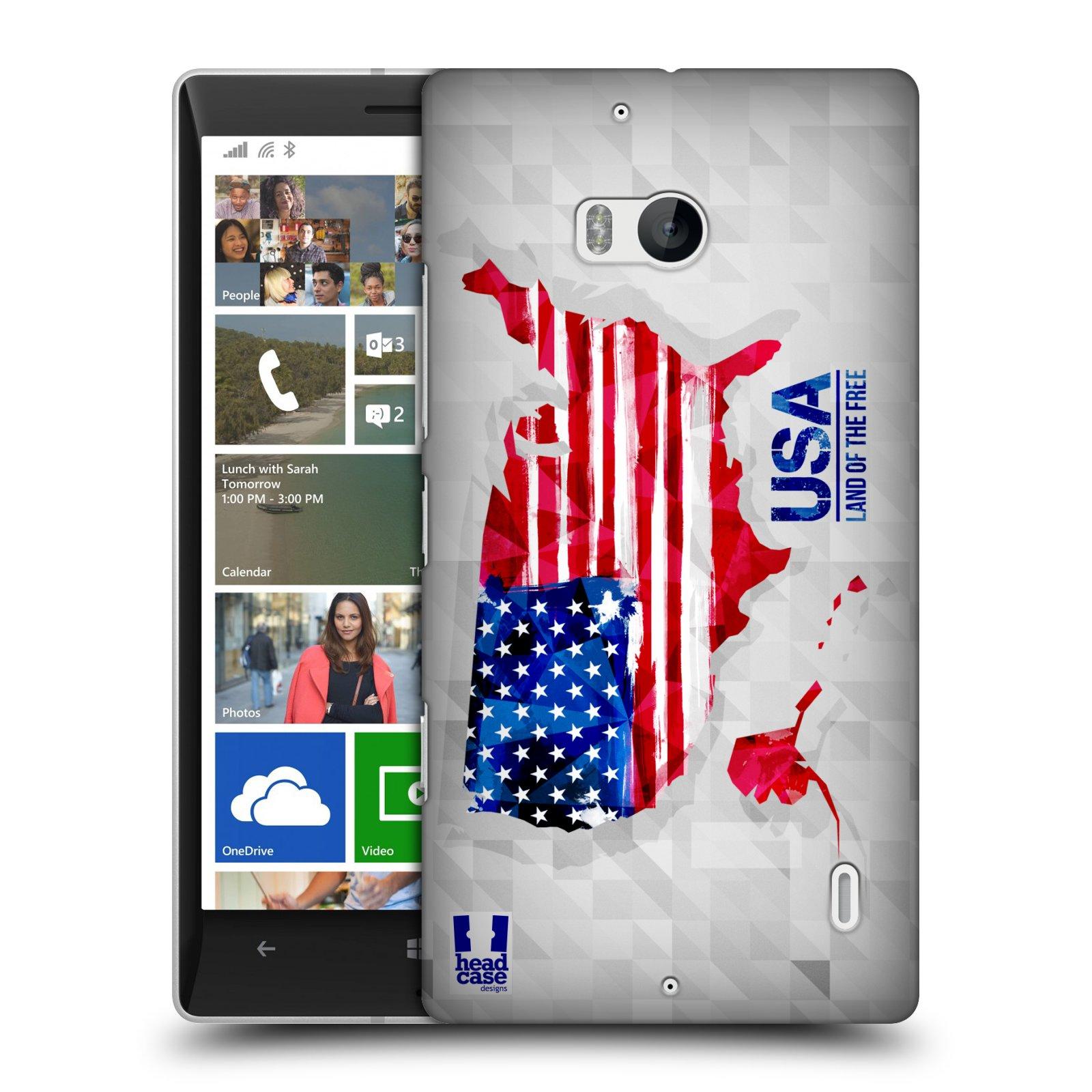 Plastové pouzdro na mobil Nokia Lumia 930 HEAD CASE GEOMAPA USA (Kryt či obal na mobilní telefon Nokia Lumia 930)