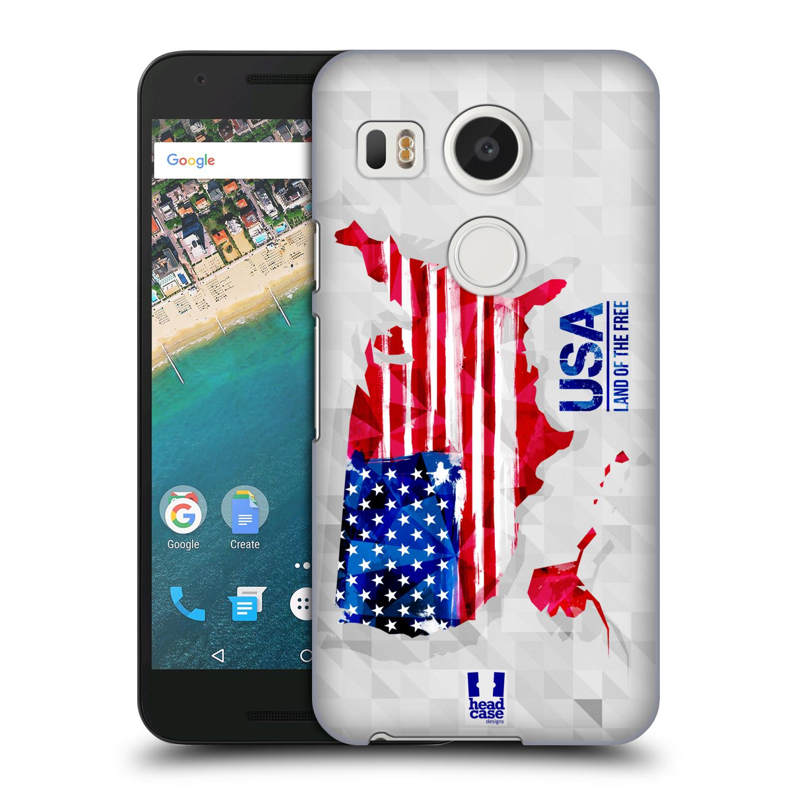 Plastové pouzdro na mobil LG Nexus 5X HEAD CASE GEOMAPA USA