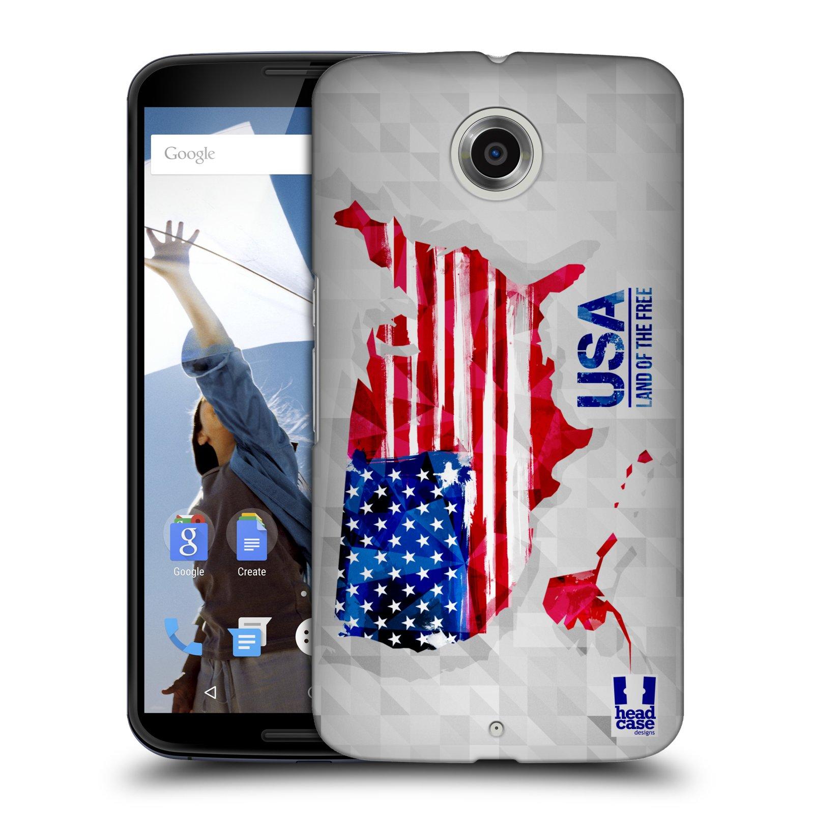 Plastové pouzdro na mobil Motorola Nexus 6 HEAD CASE GEOMAPA USA (Kryt či obal na mobilní telefon Motorola Nexus 6)