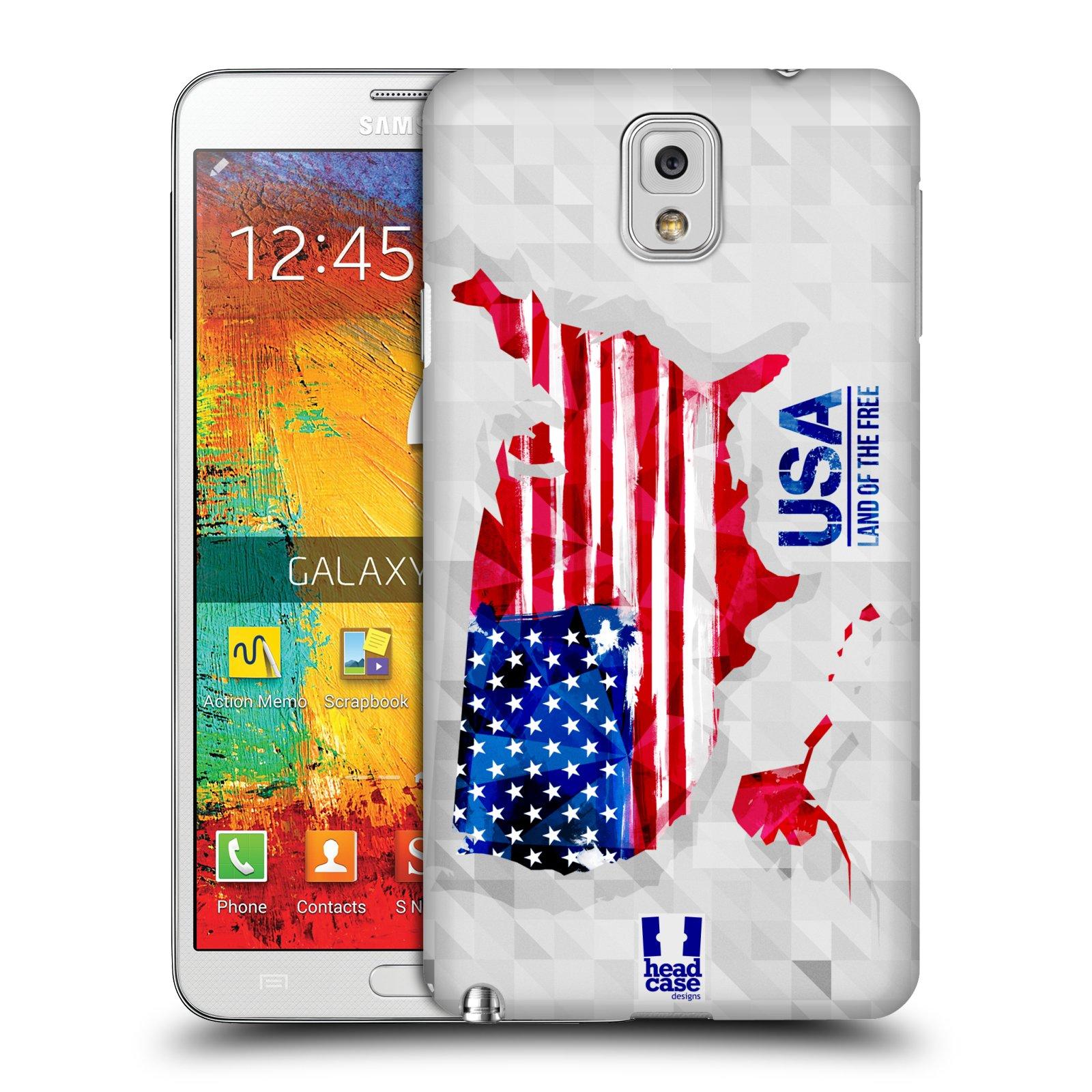 Plastové pouzdro na mobil Samsung Galaxy Note 3 HEAD CASE GEOMAPA USA (Kryt či obal na mobilní telefon Samsung Galaxy Note 3 SM-N9005)